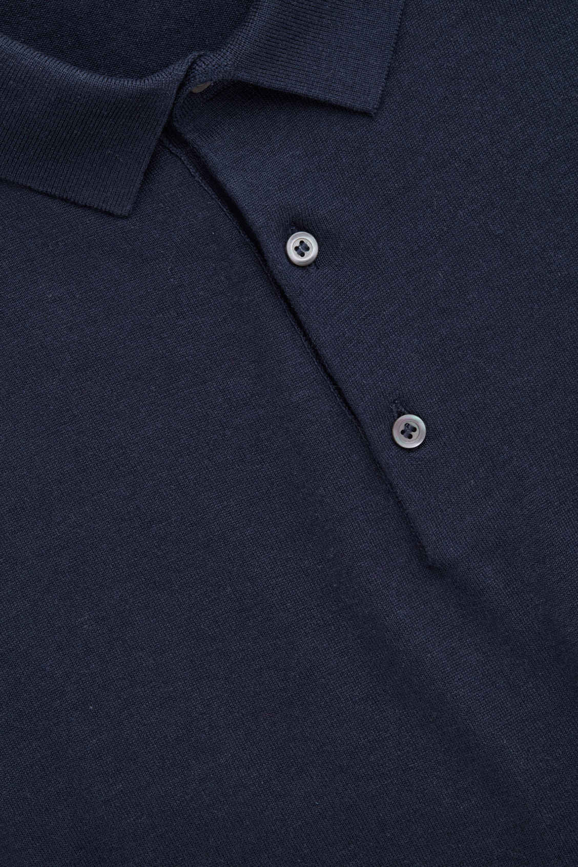 Side image of Cos silk-cotton polo shirt in blue