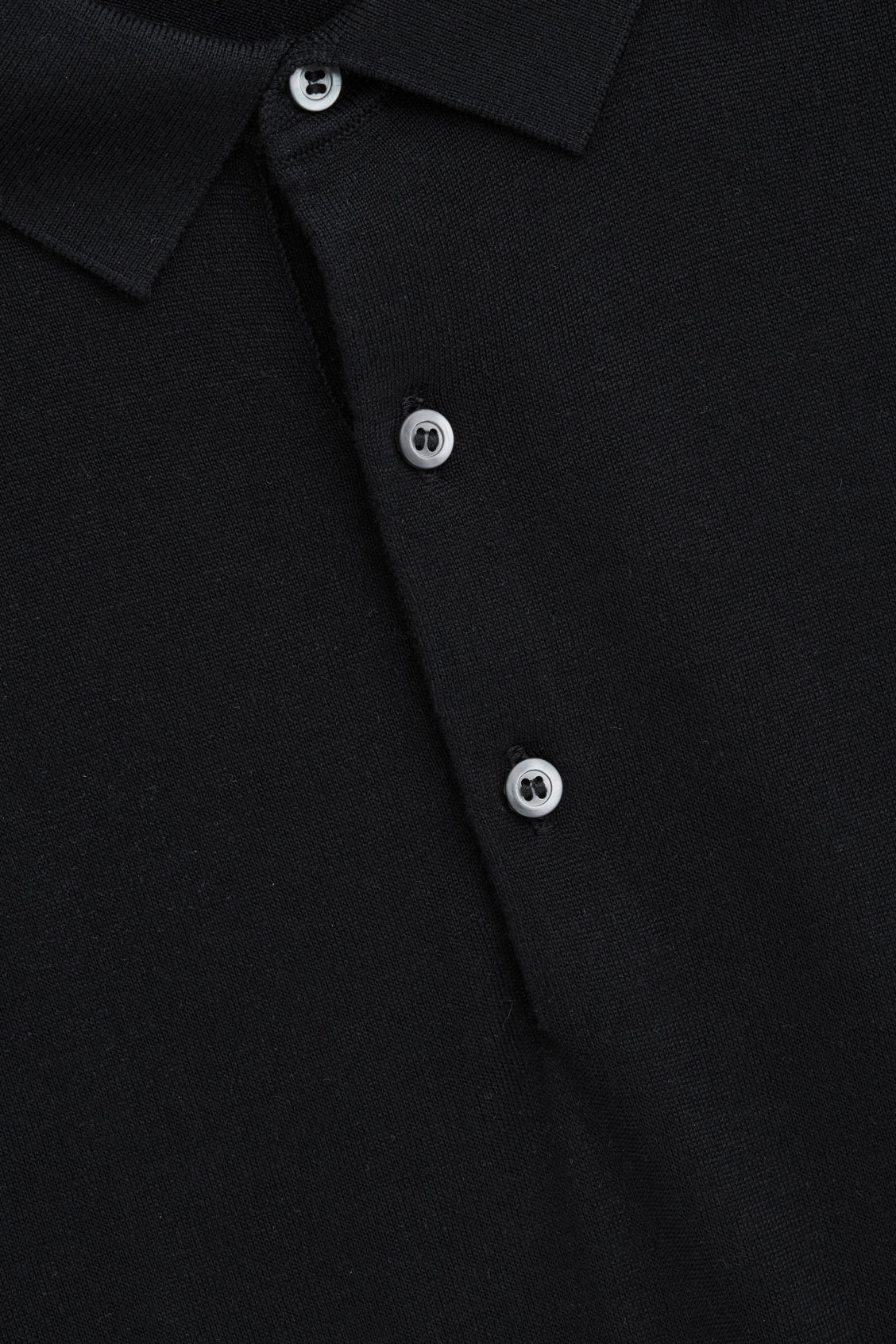 Side image of Cos silk-cotton polo shirt in black