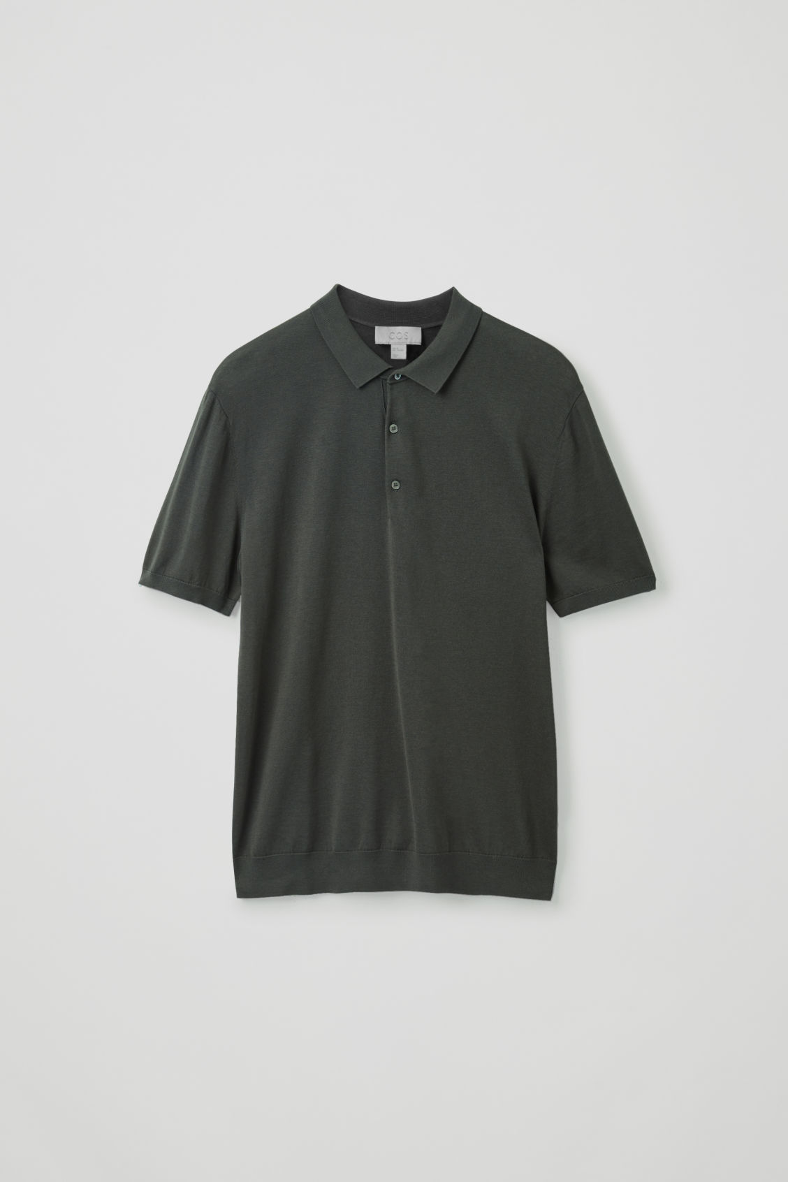 Front image of Cos silk-cotton polo shirt in green