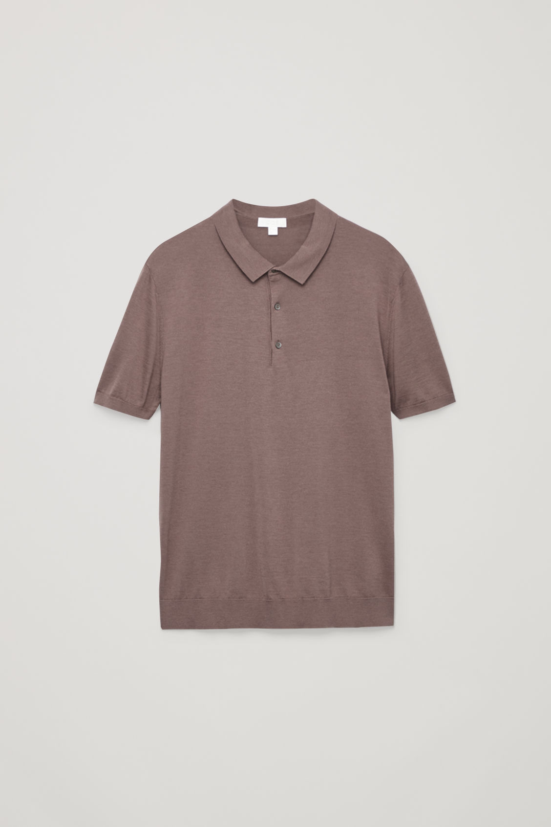 Front image of Cos silk-cotton polo shirt in purple
