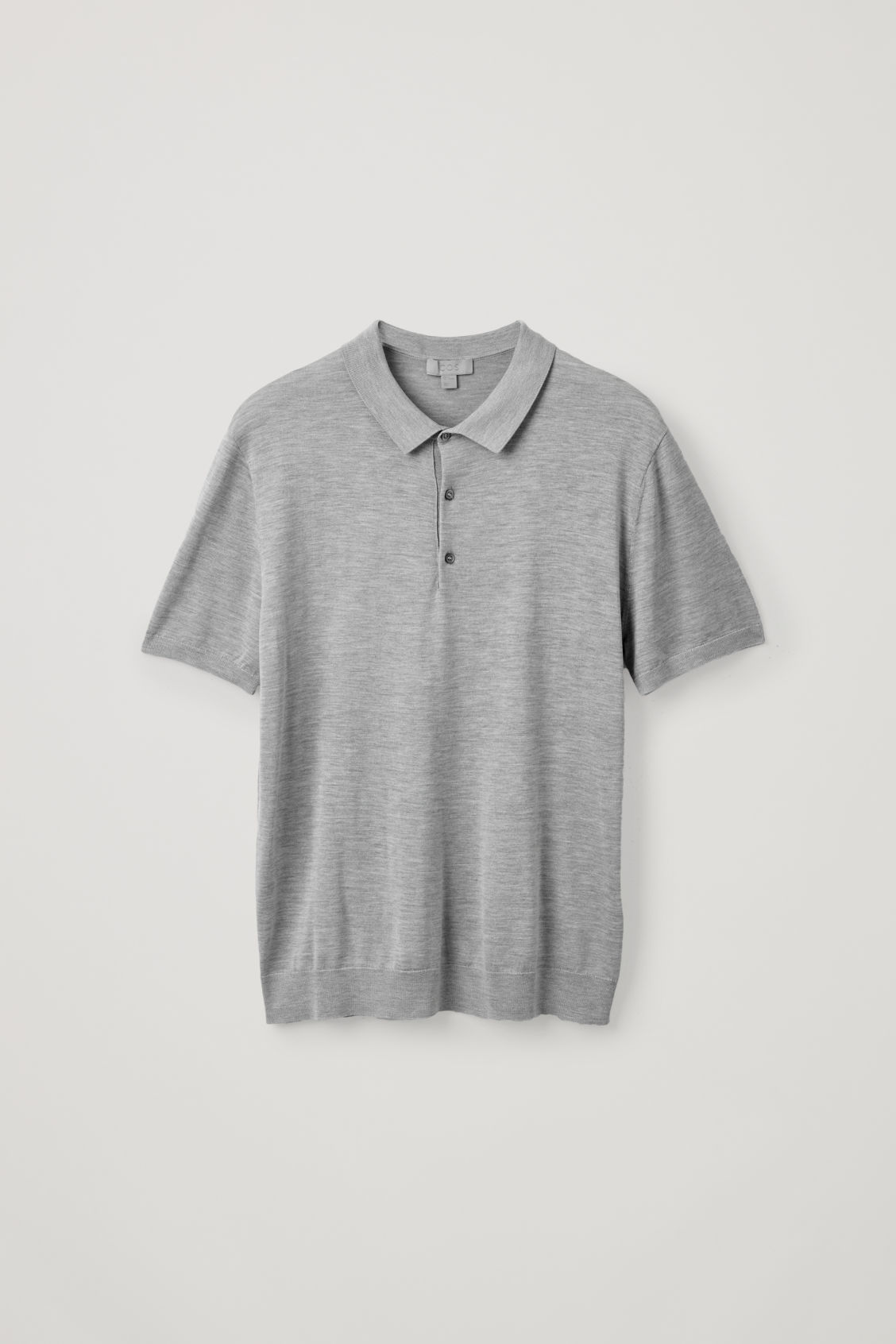 Front image of Cos silk-cotton polo shirt in grey