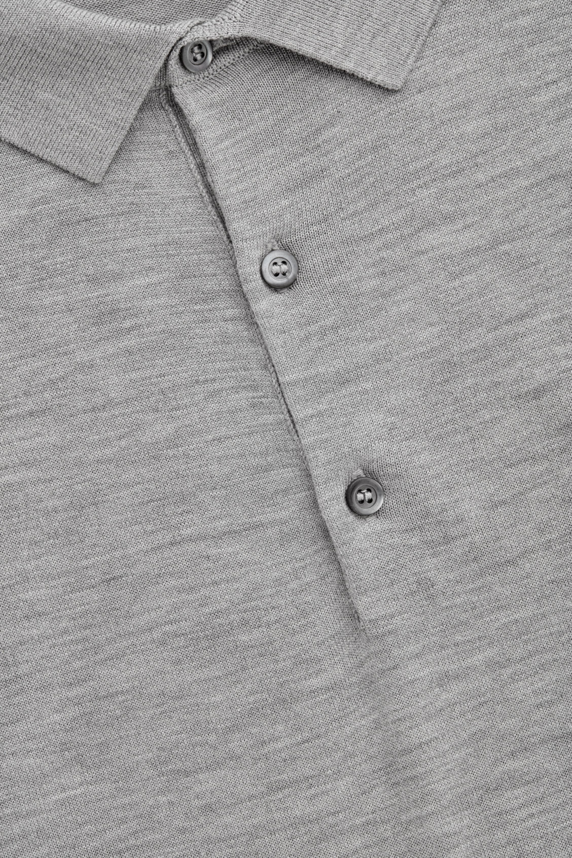 Side image of Cos silk-cotton polo shirt in grey
