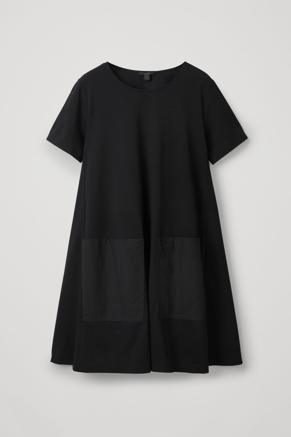 Front image of Cos a-line jersey dress in black