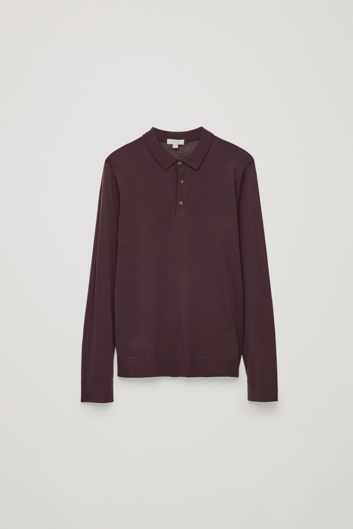 Front image of Cos merino polo-neck jumper in red