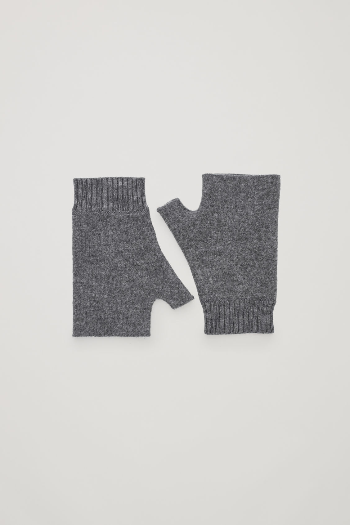 Front image of Cos merino fingerless gloves in grey