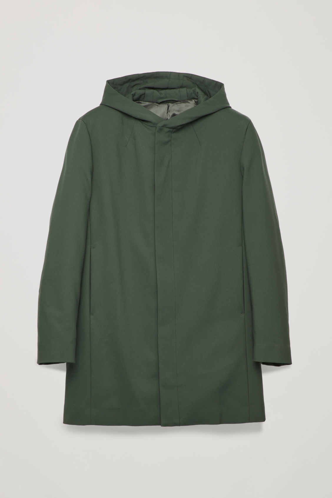 Front image of Cos padded cotton parka in green