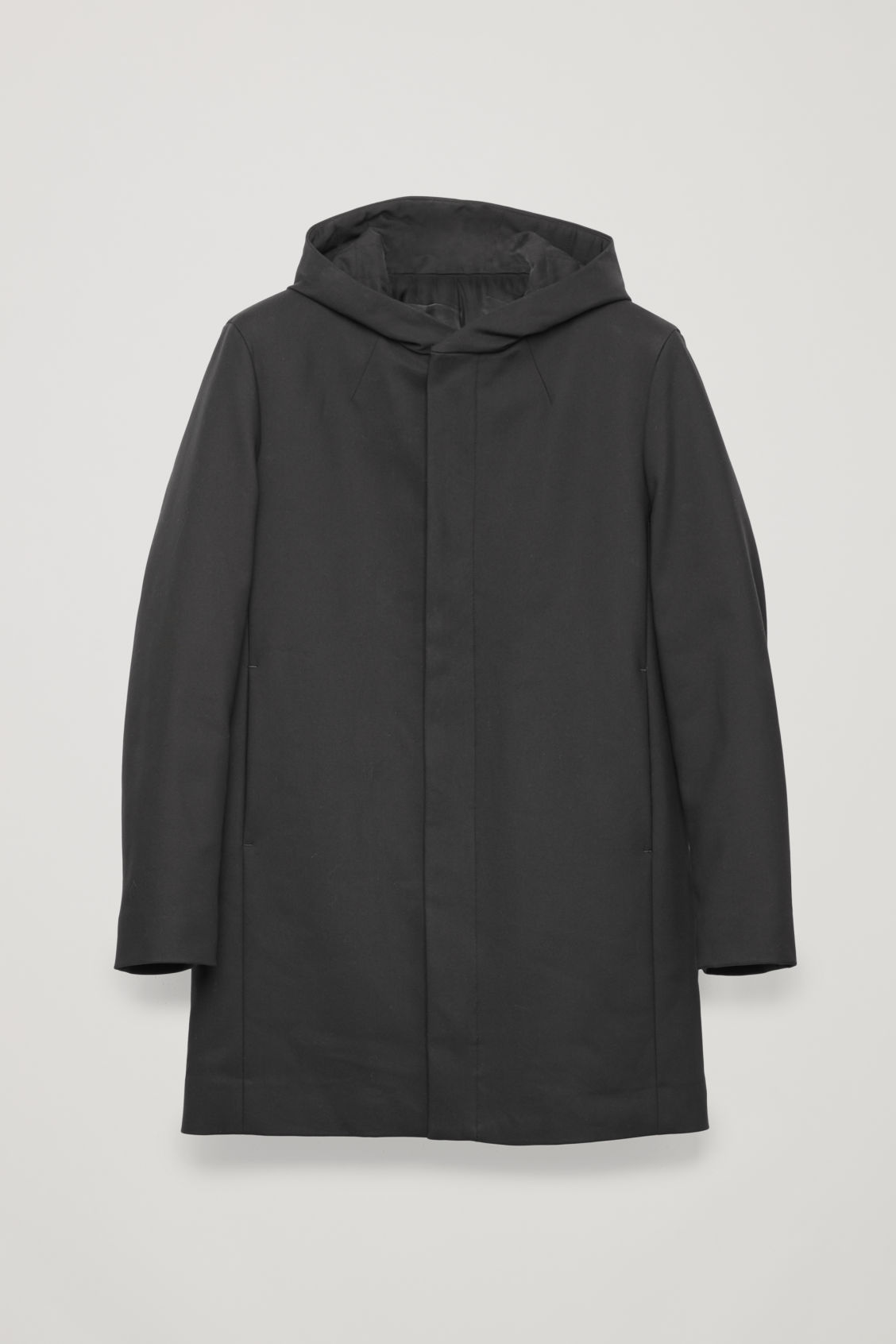 Front image of Cos padded cotton parka in black