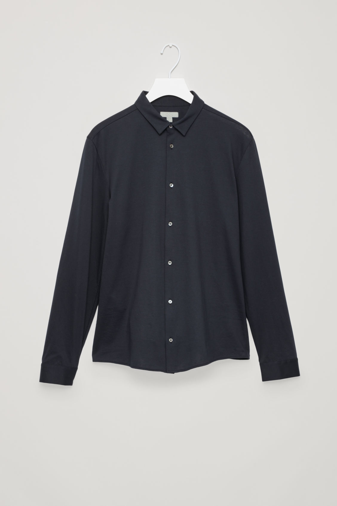 Side image of Cos jersey shirt in blue