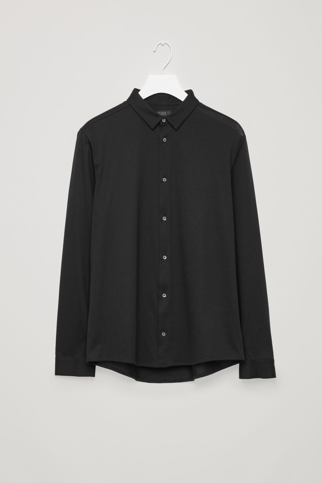 Front image of Cos jersey shirt in black