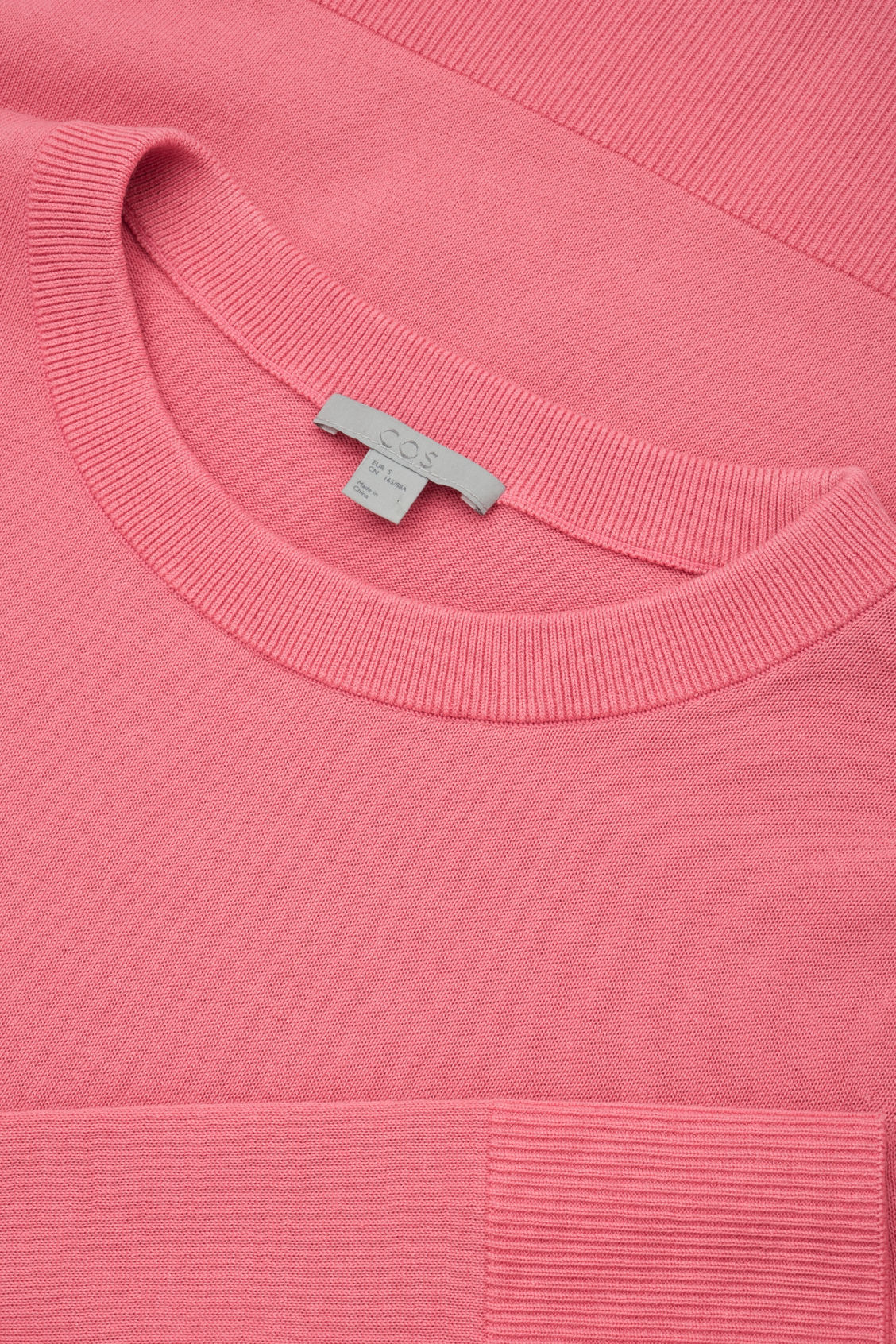 Side image of Cos cotton-knit jumper in pink