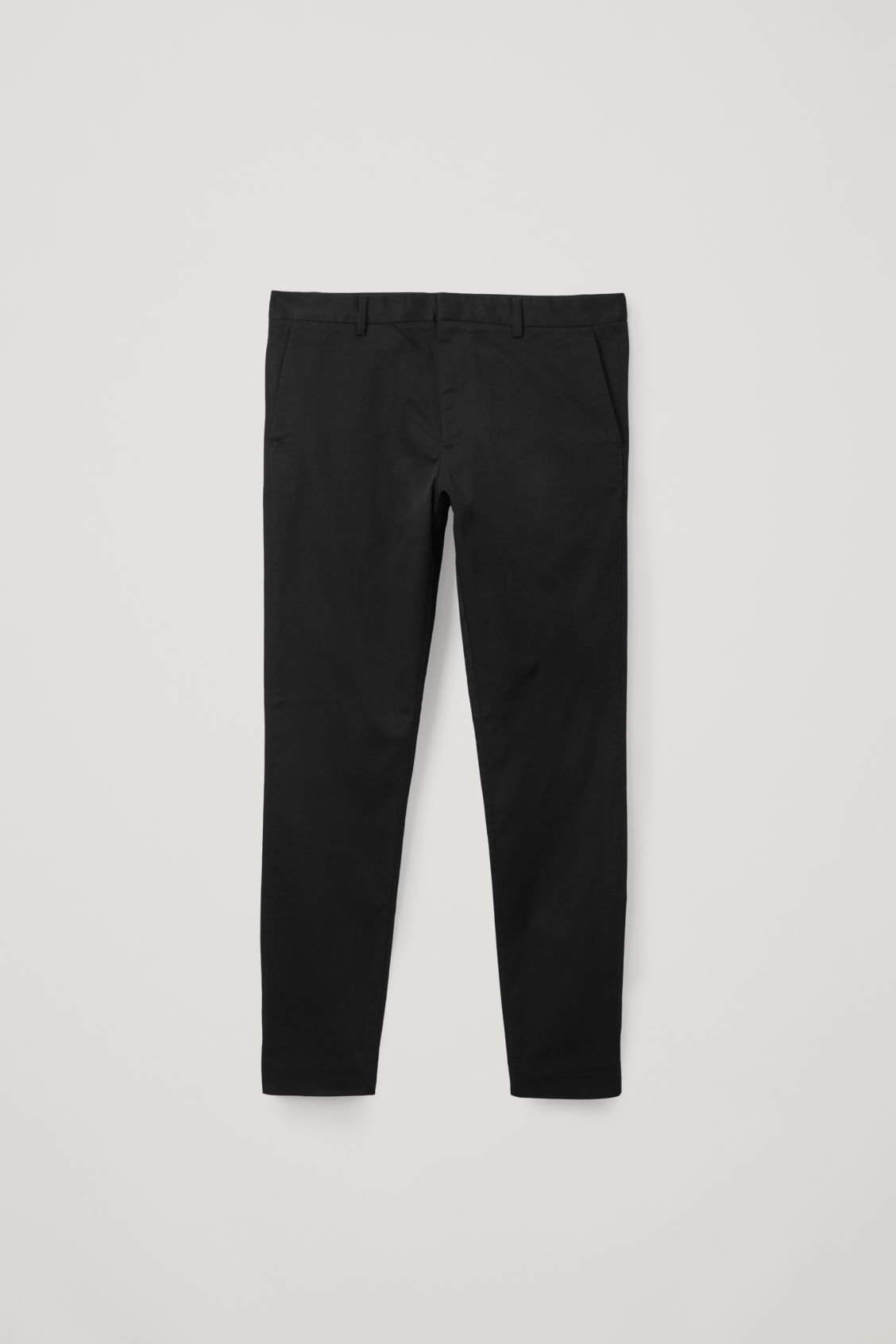 Front image of Cos stretch-cotton chinos in black