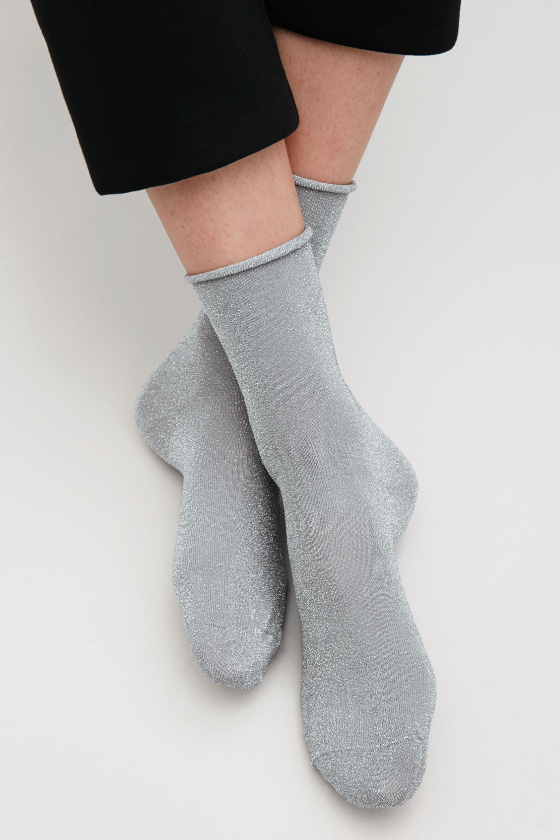 Side image of Cos metallic socks in grey
