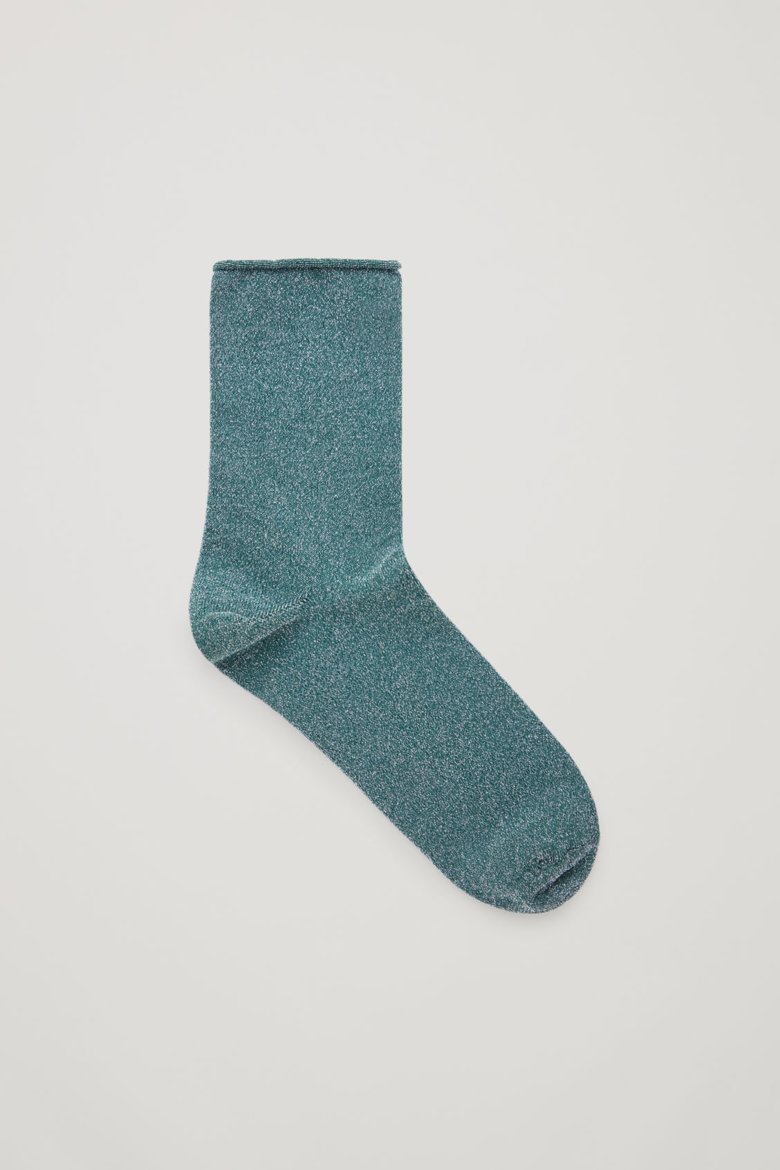 Front image of Cos metallic socks in green