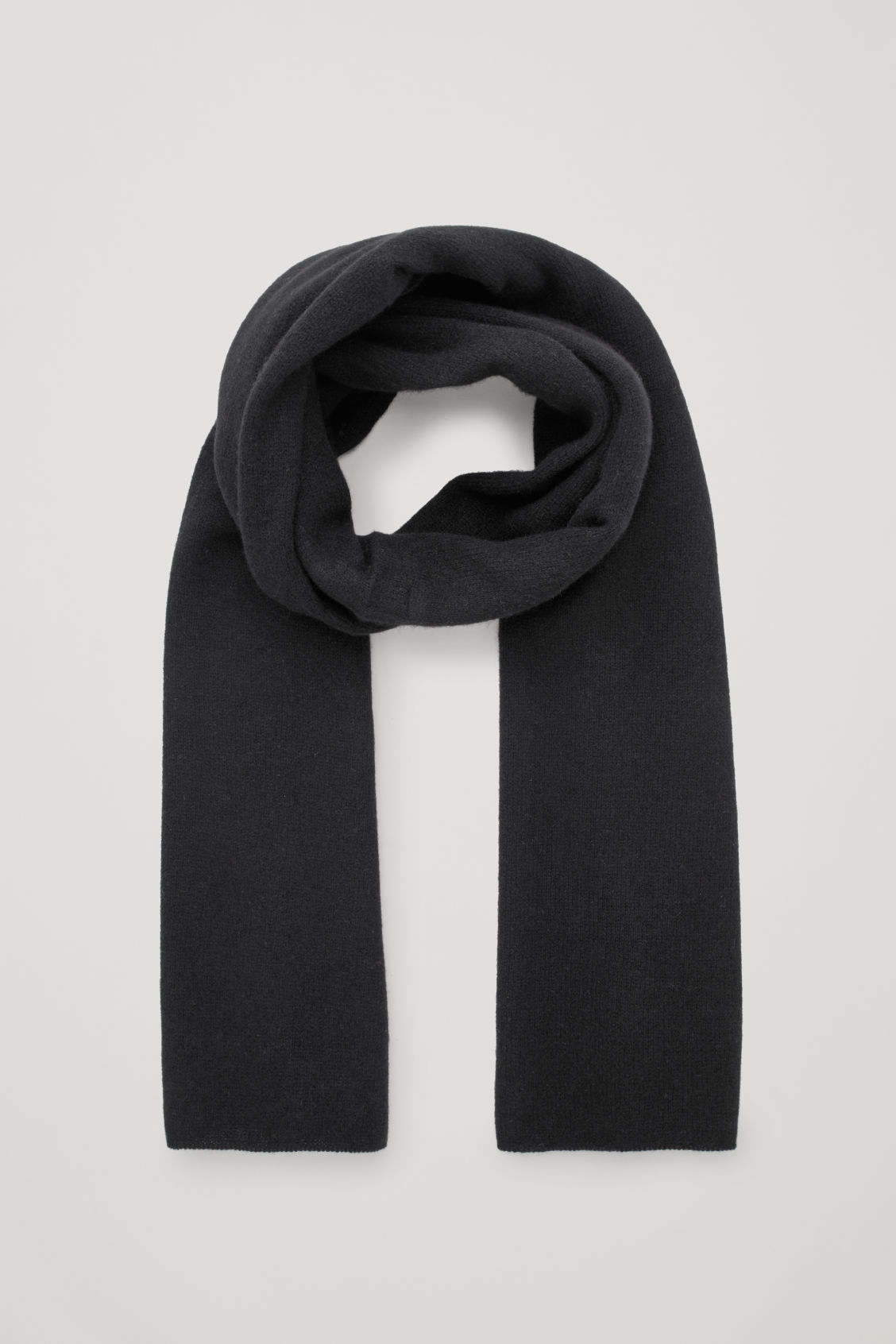 Front image of Cos cashmere scarf in black