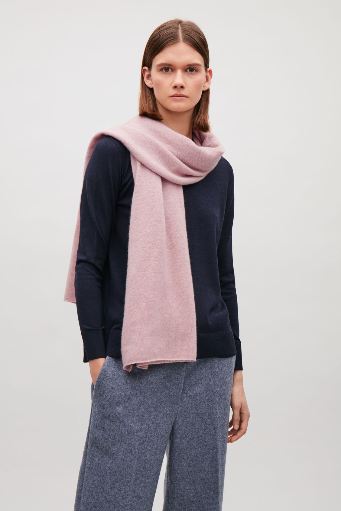 Side image of Cos cashmere scarf in pink