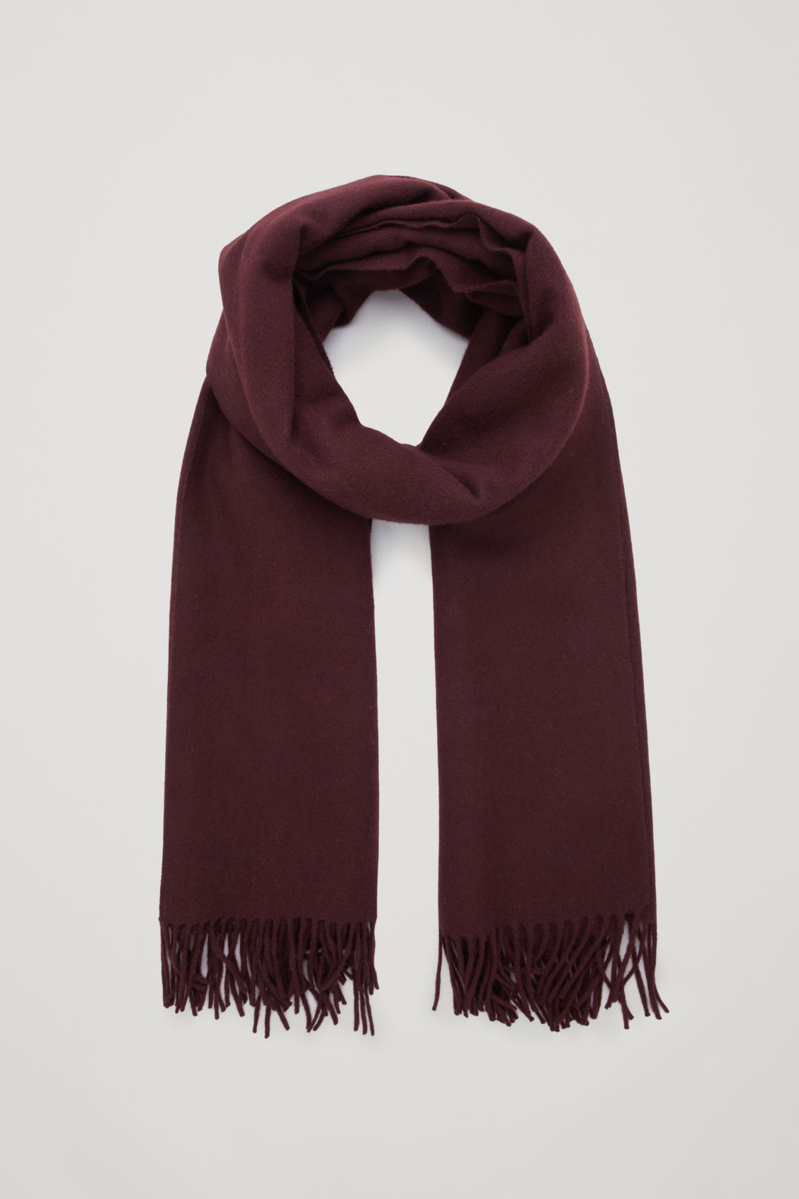 Front image of Cos wool-cashmere scarf in red
