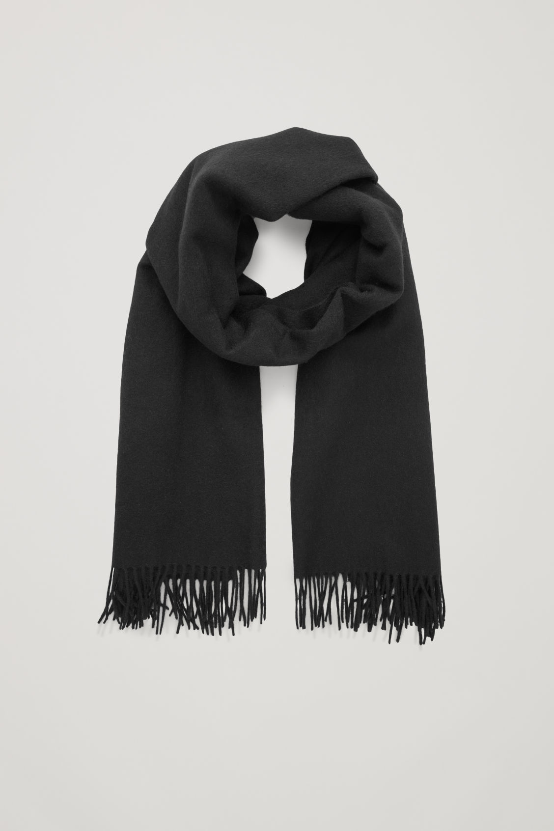 Front image of Cos wool-cashmere scarf in black