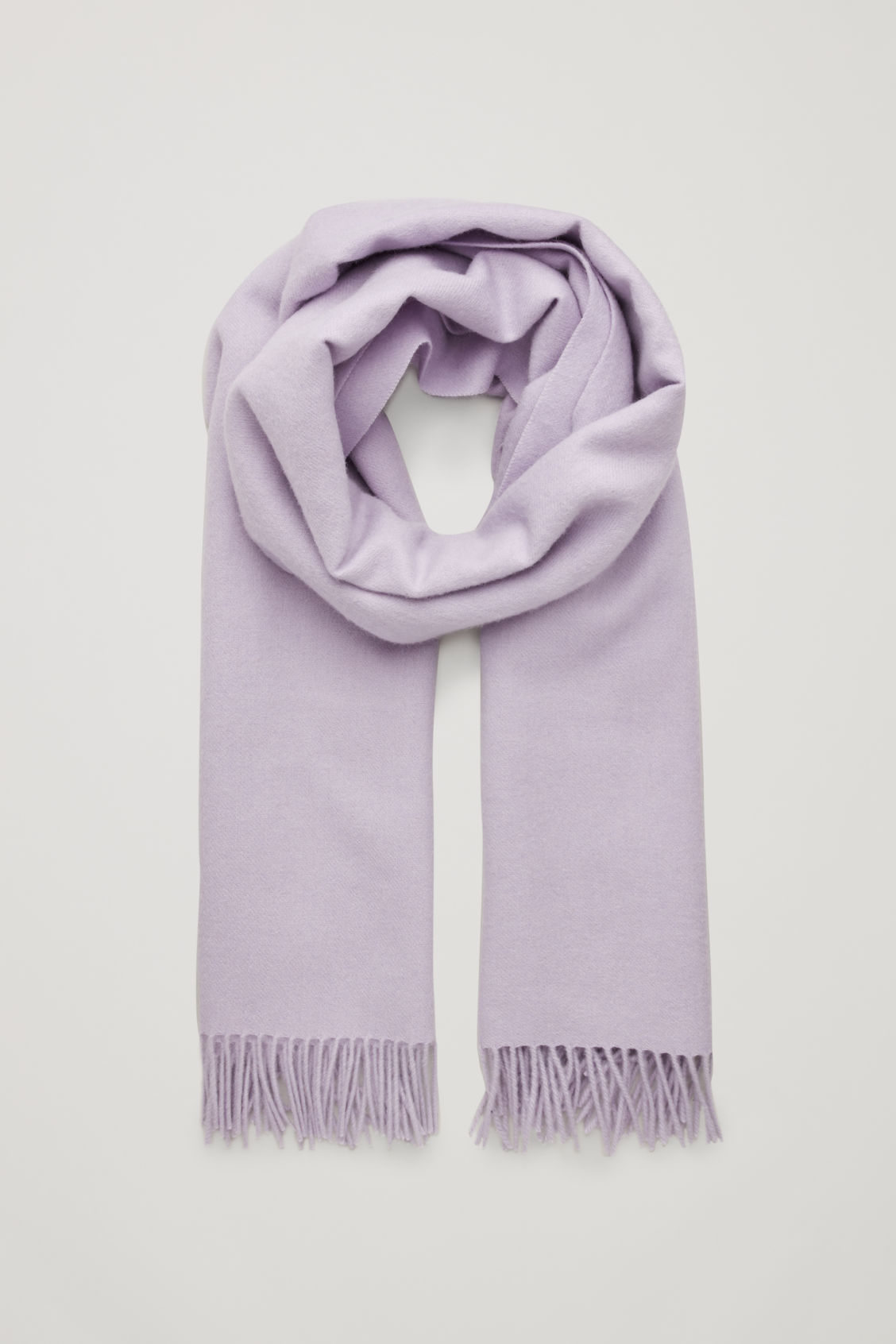 Front image of Cos wool-cashmere scarf in purple
