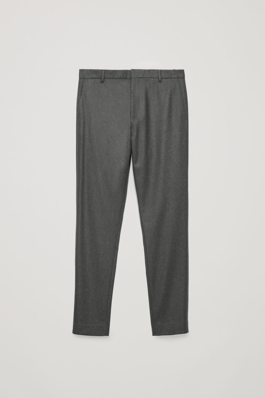 Front image of Cos slim wool trousers in grey