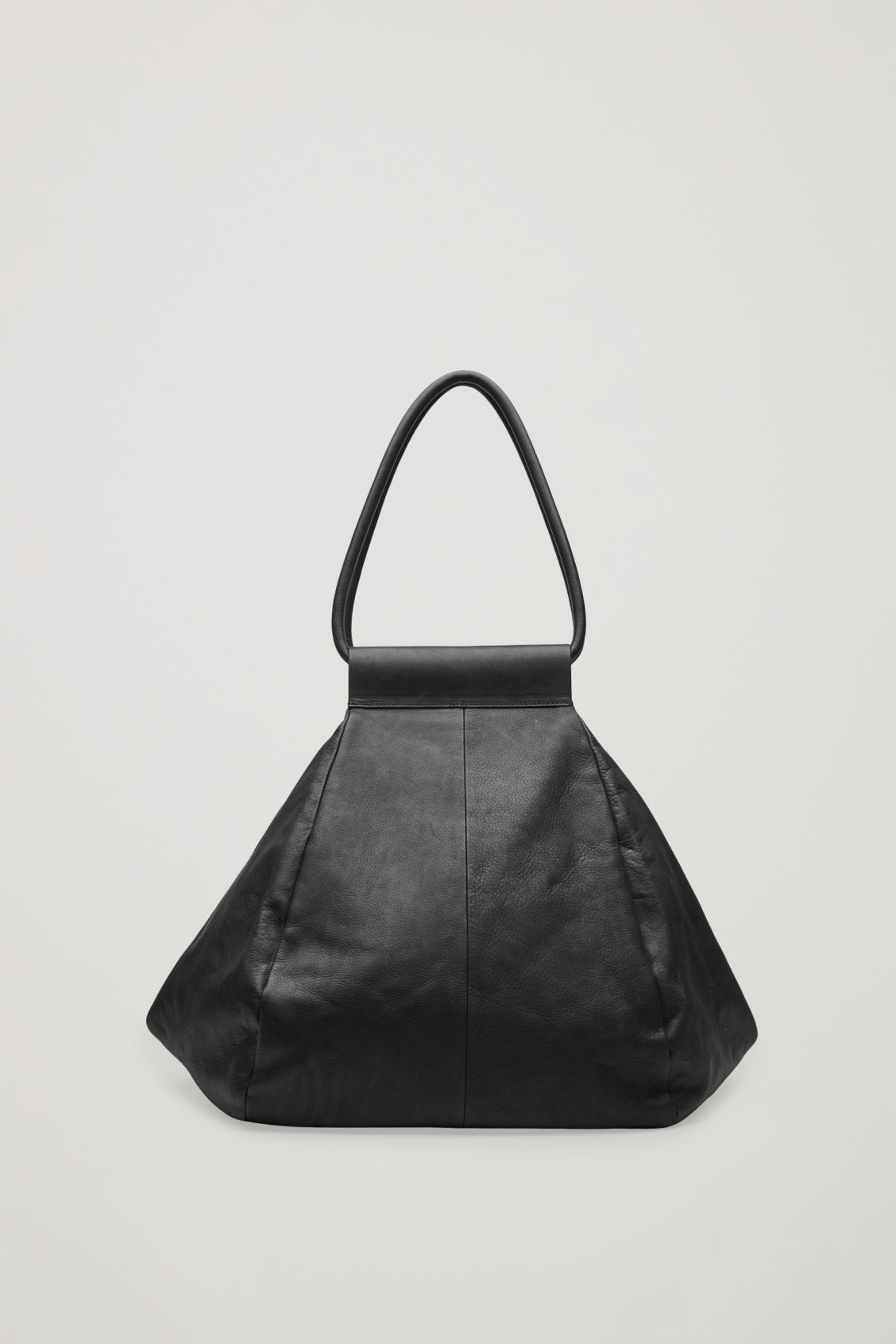 Front image of Cos folded leather tote bag in black