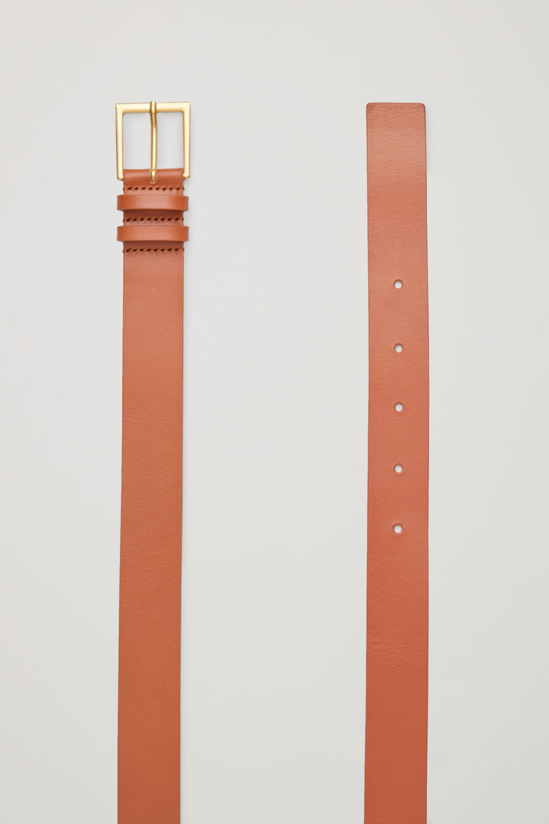 Side image of Cos classic leather belt in beige