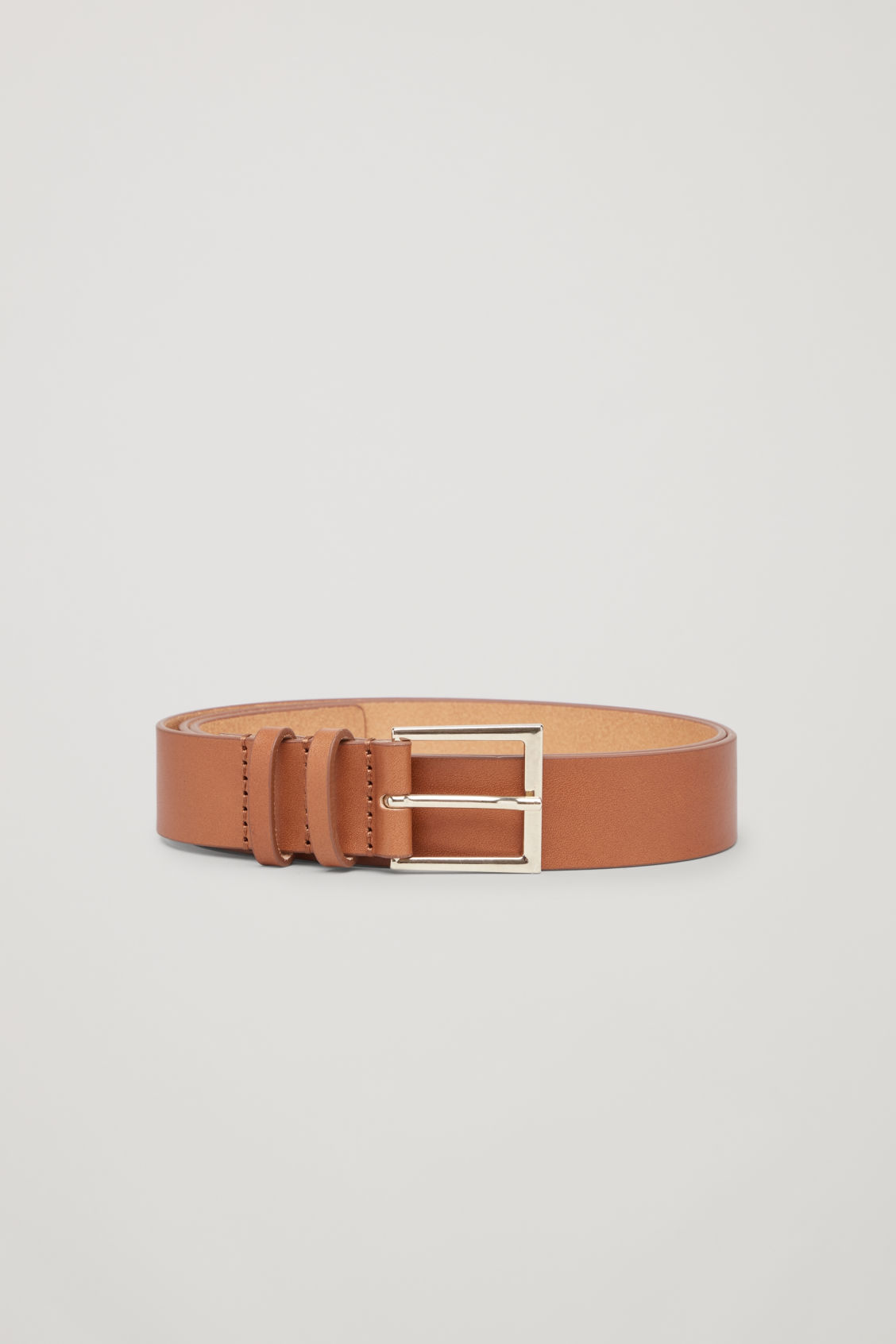 Front image of Cos classic leather belt in beige