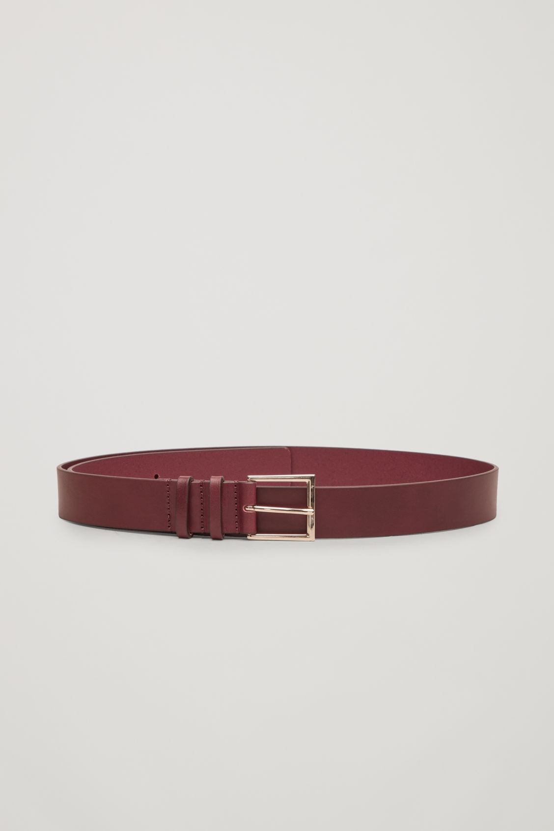 Front image of Cos classic leather belt in purple