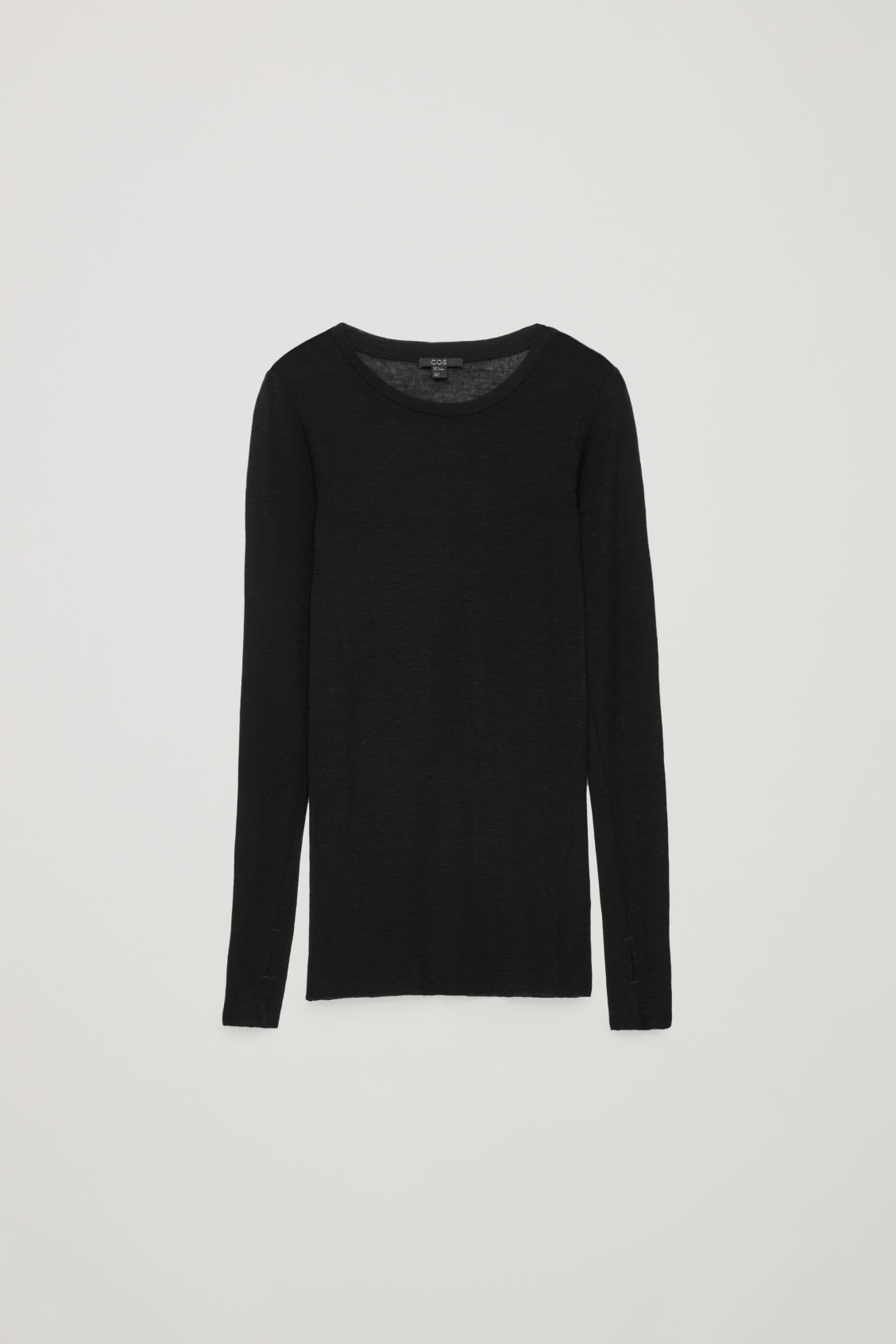Front image of Cos wide-neck wool top in black