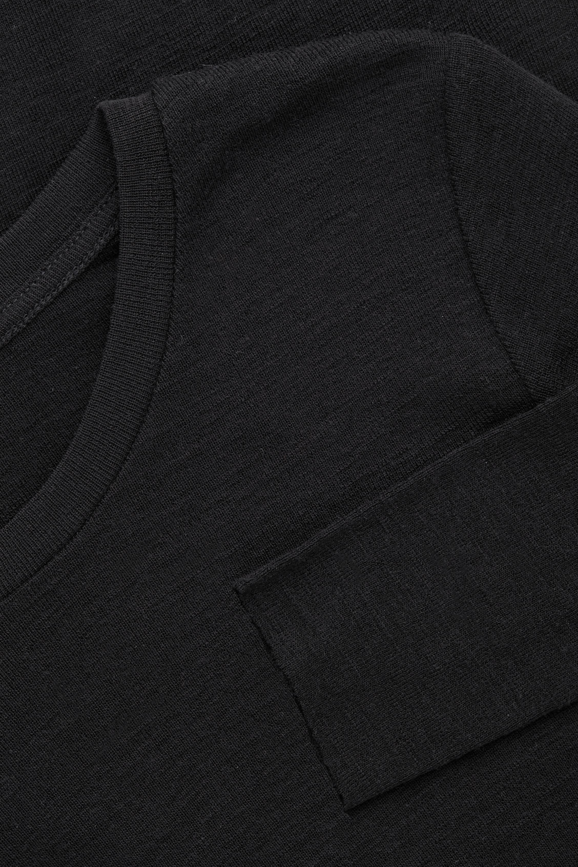 Side image of Cos wide-neck wool top in black