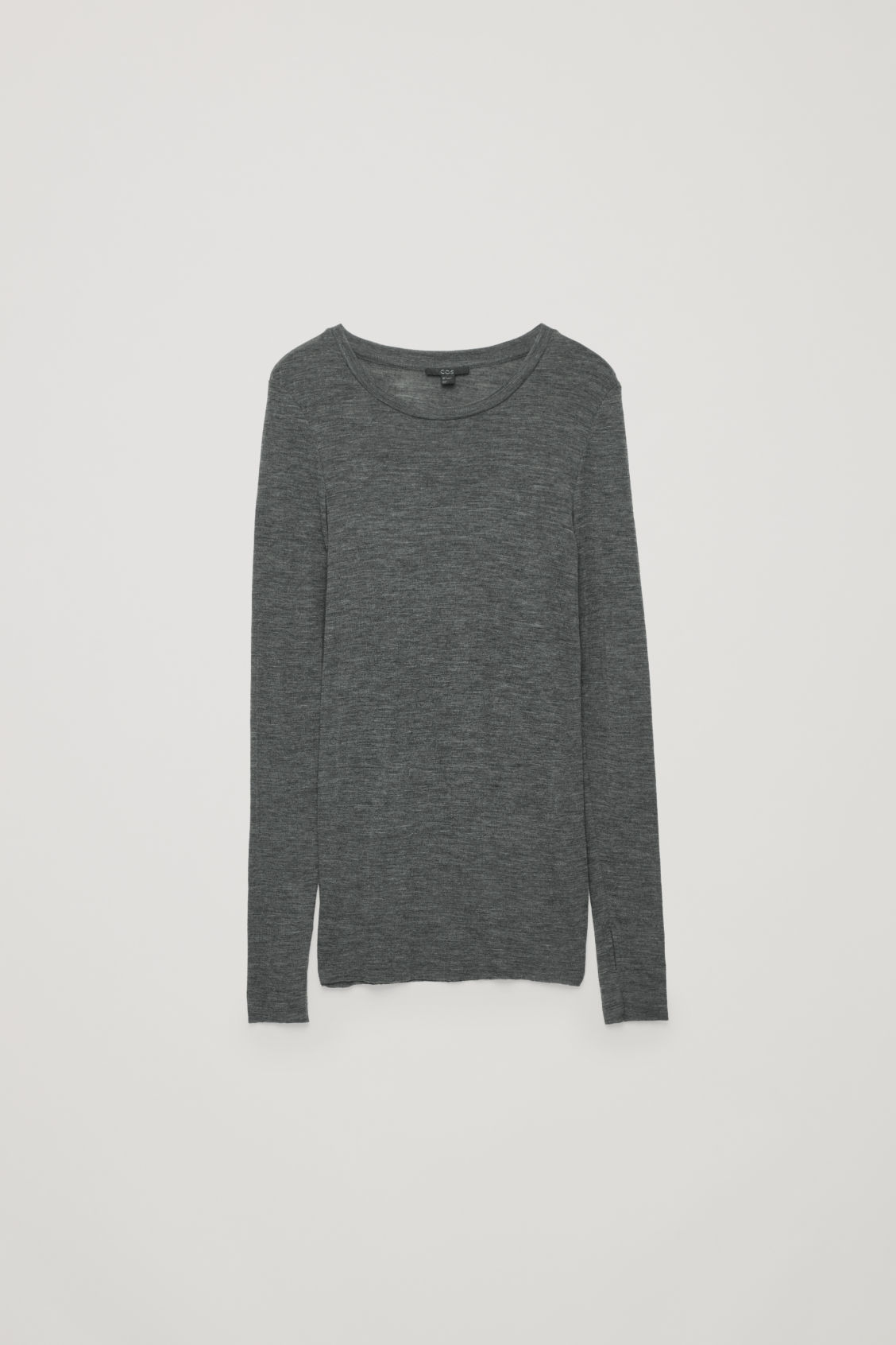 Front image of Cos sheer wool long-sleeved top in grey