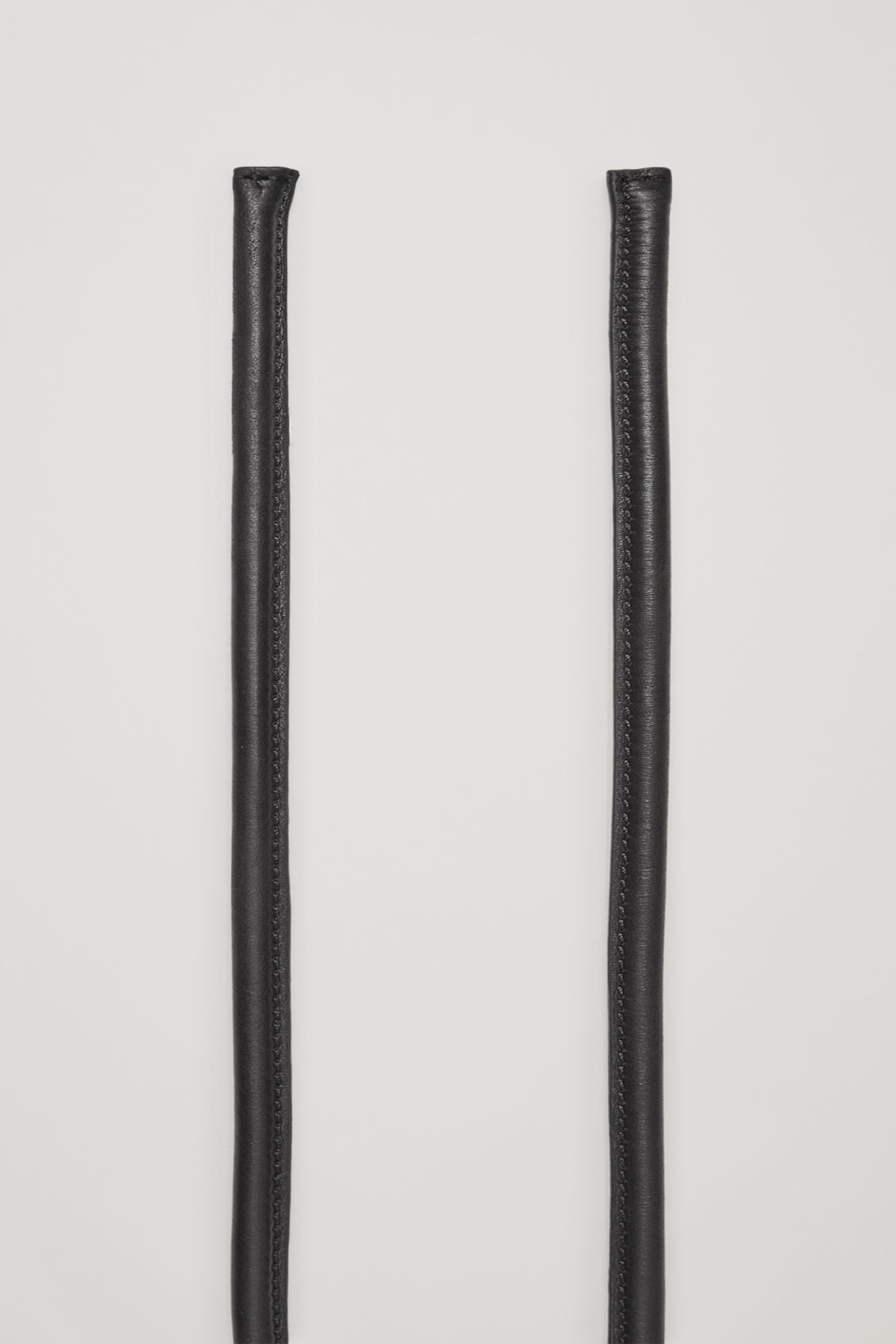 Side image of Cos tie-up leather belt in black