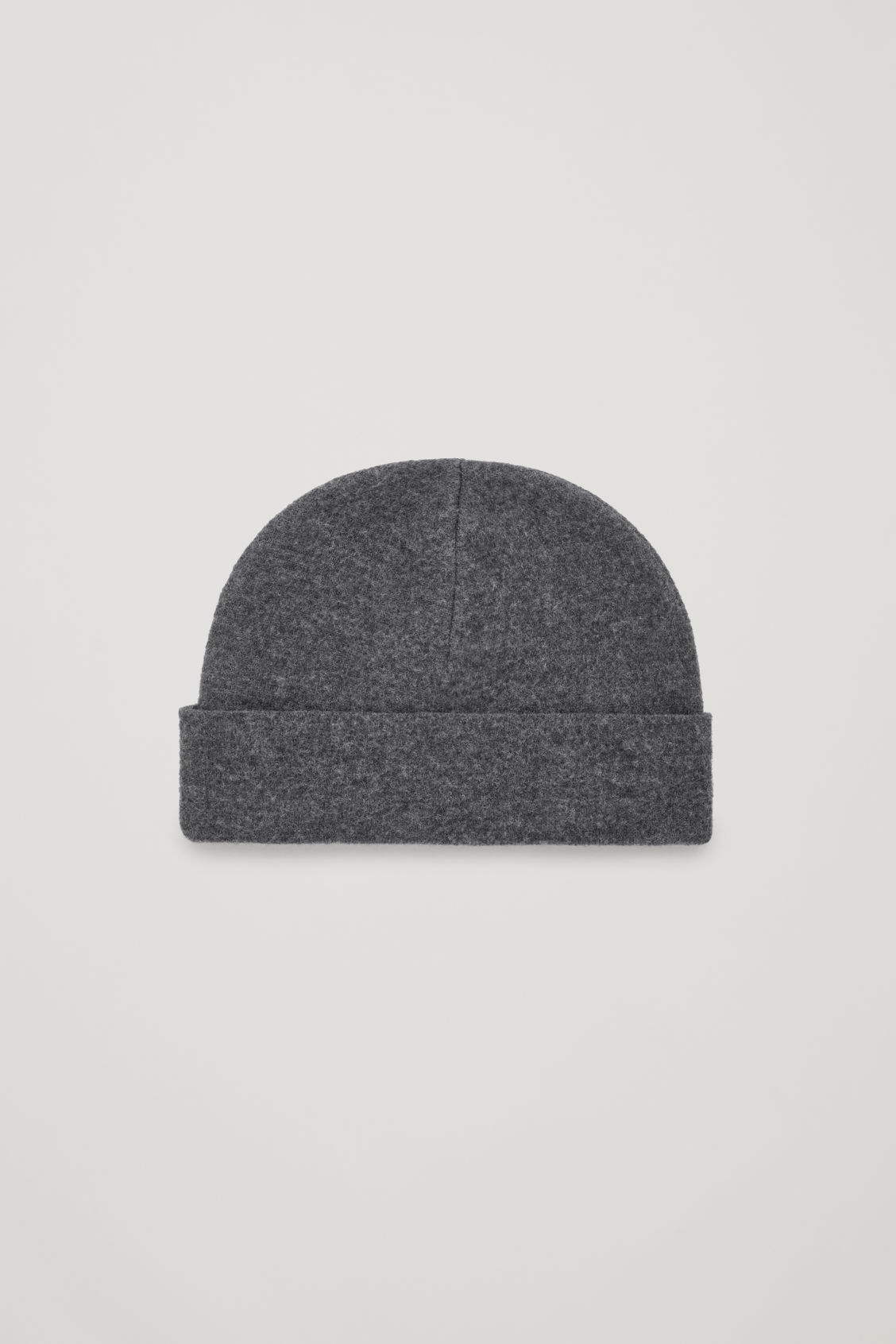 Front image of Cos raw-cut wool hat in grey