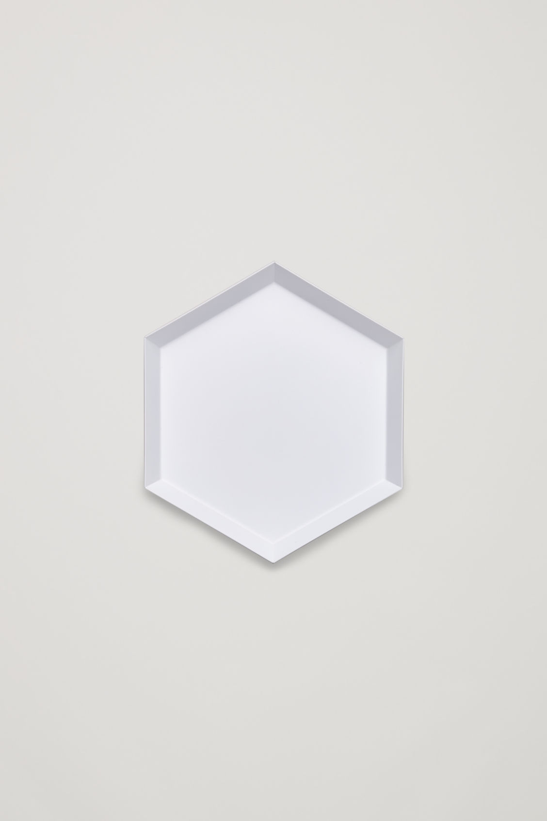 Front image of Cos hay kaleido small metal tray in white