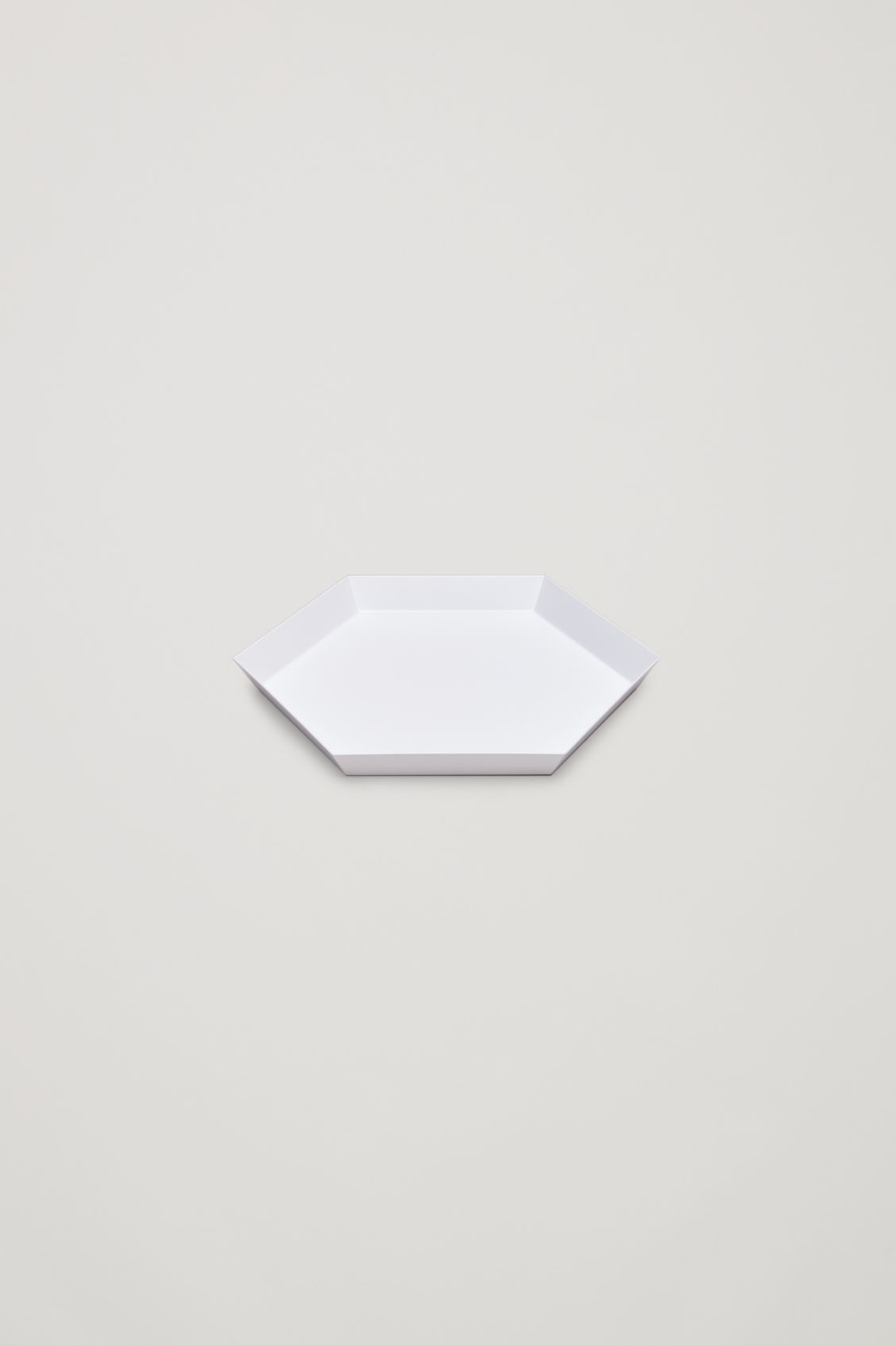 Side image of Cos hay kaleido small metal tray in white