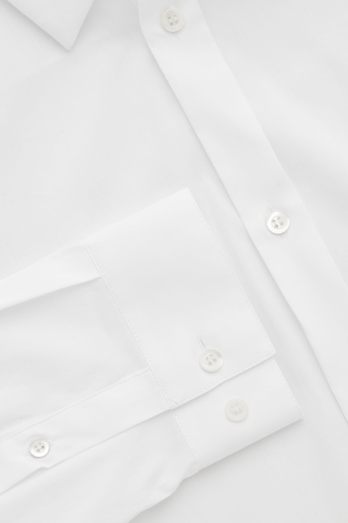 Side image of Cos slim-fit cotton shirt in white