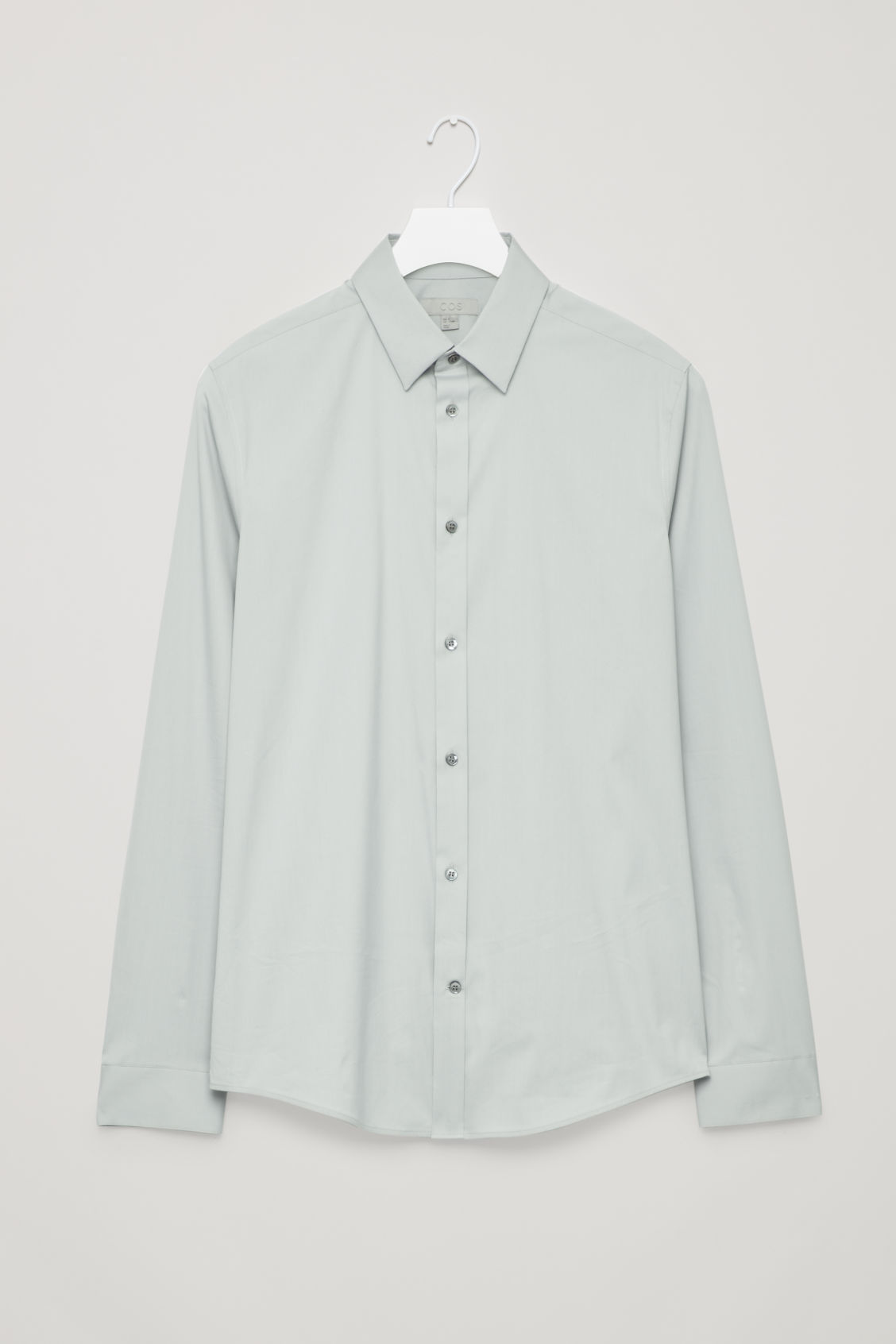 Front image of Cos slim-fit cotton shirt in grey