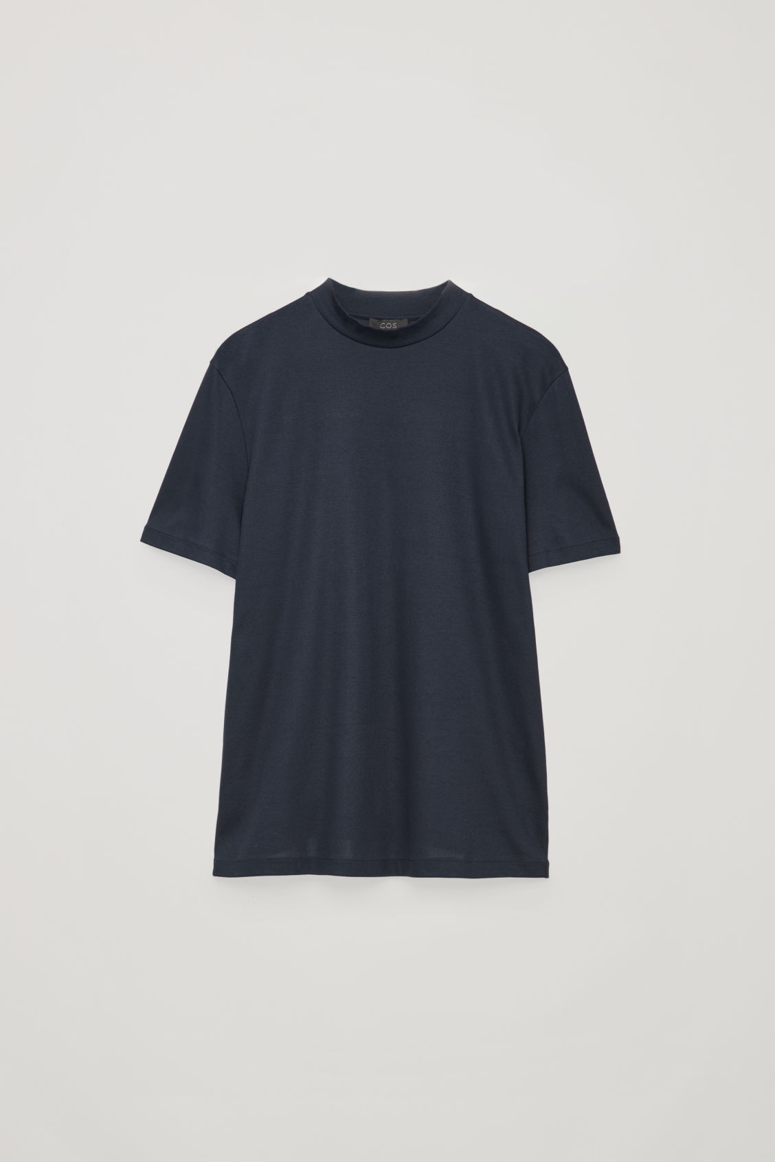 Front image of Cos t-shirt with raised neck in blue
