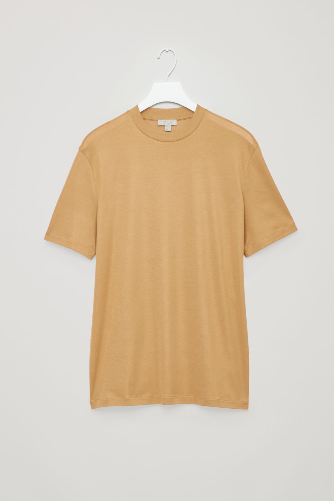 Front image of Cos t-shirt with raised neck in beige