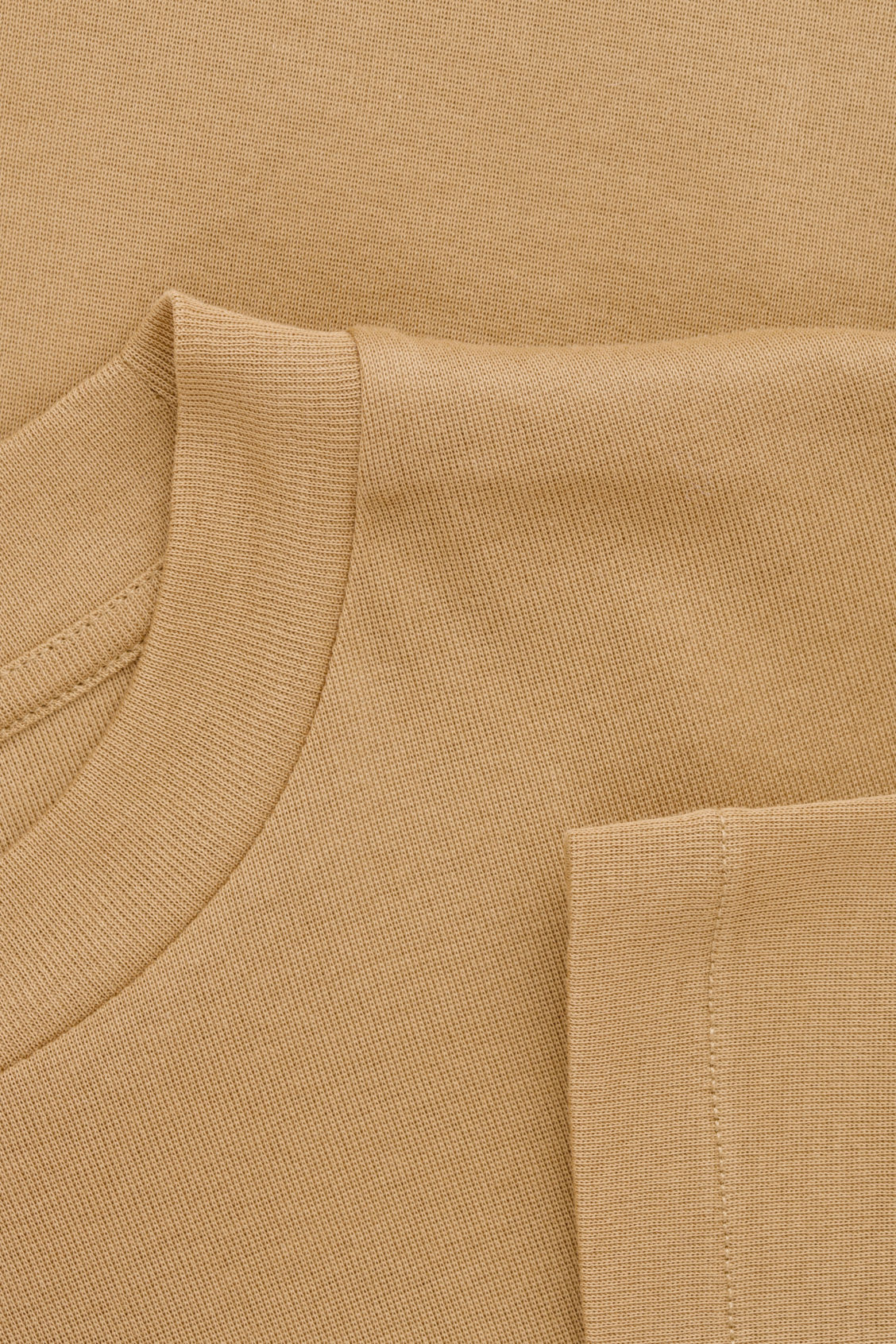 Side image of Cos t-shirt with raised neck in beige