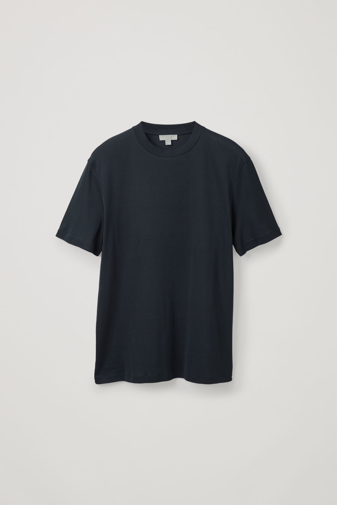 Front image of Cos t-shirt with mock neck in blue