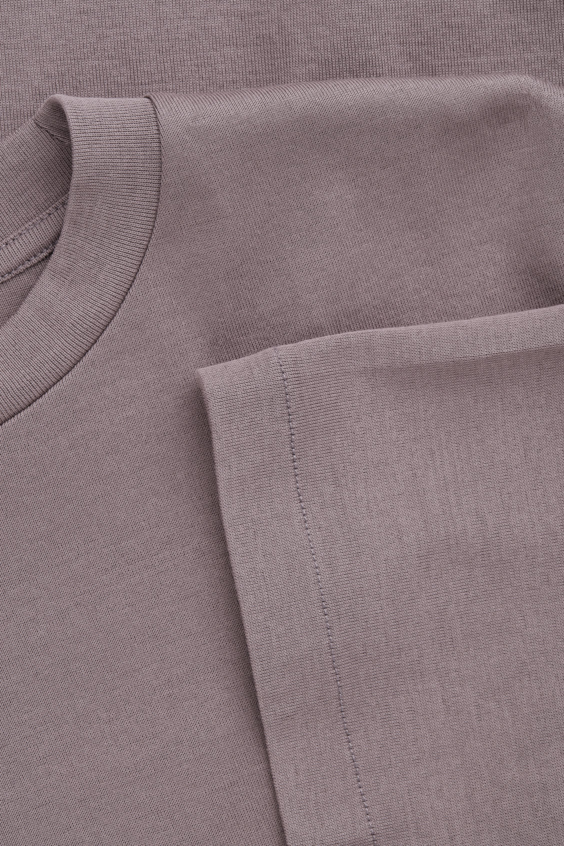 Side image of Cos t-shirt with mock neck in purple