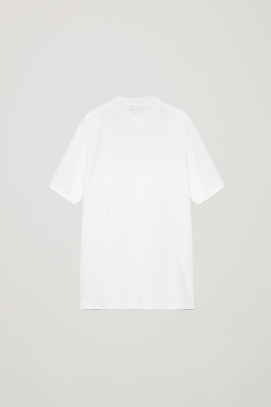 Front image of Cos t-shirt with mock neck in white