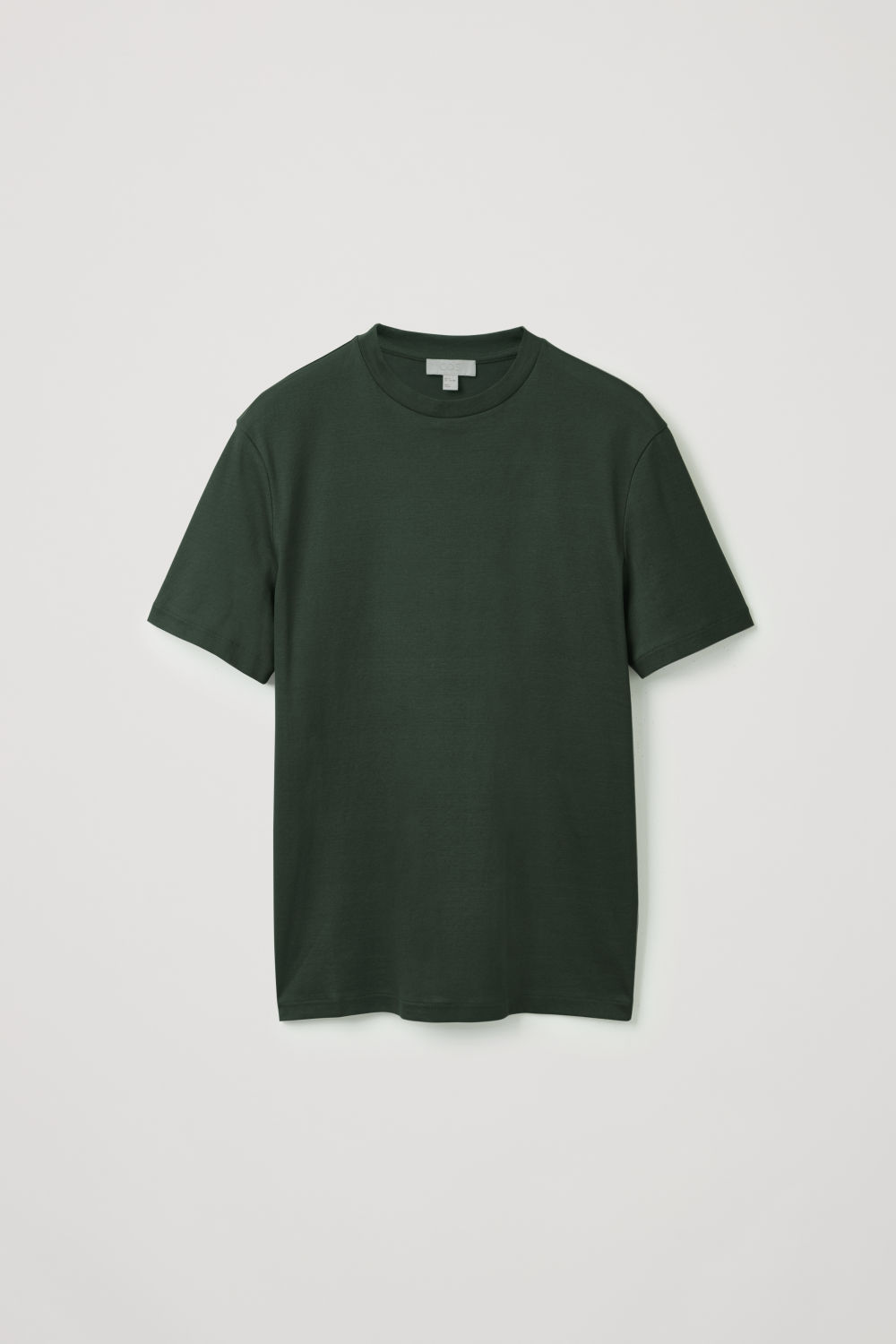 Front image of Cos t-shirt with mock neck in green