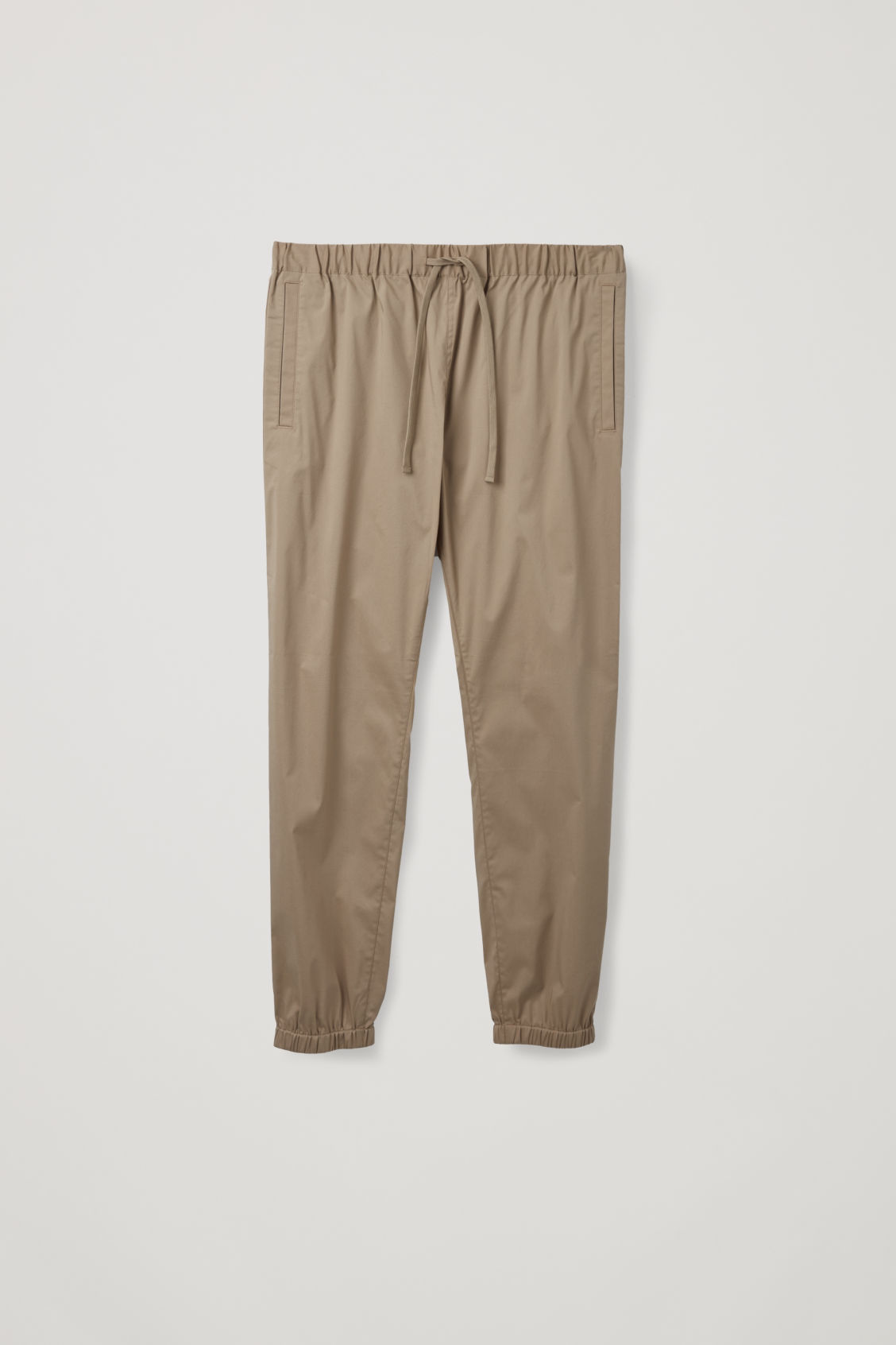 Front image of Cos elastic-waist cotton trousers in beige