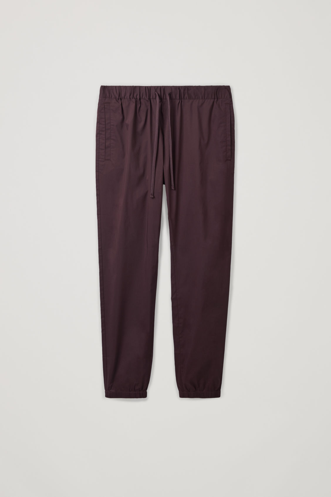 Front image of Cos elastic-waist cotton trousers in red