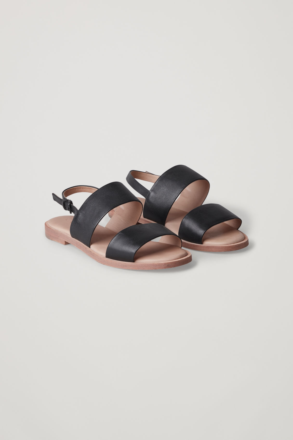 Front image of Cos leather strap sandals  in black