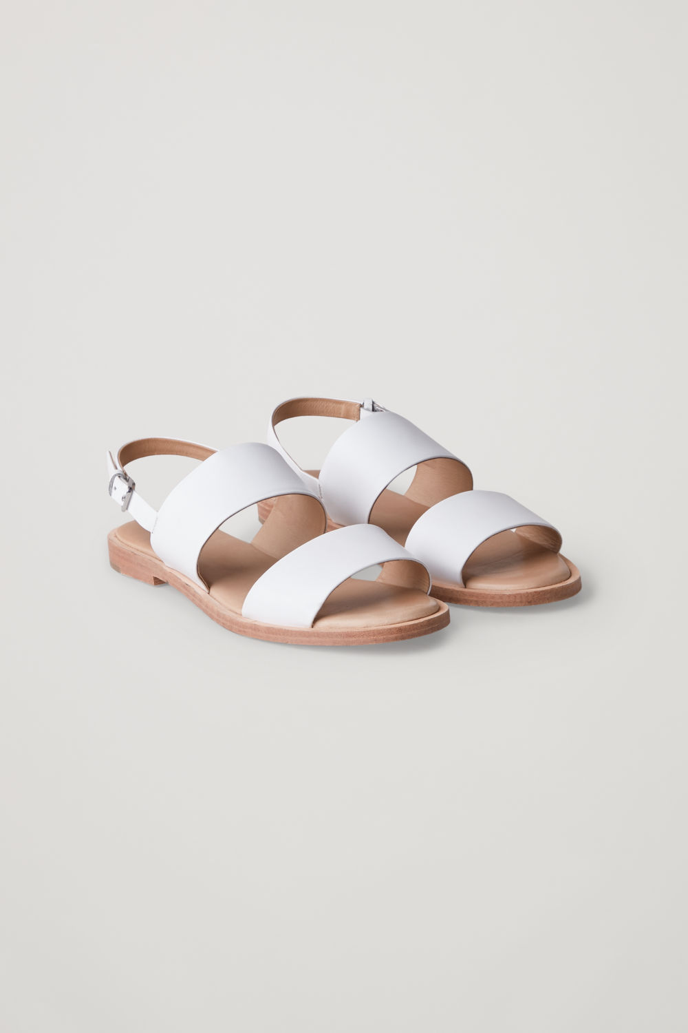 Front image of Cos leather strap sandals  in white