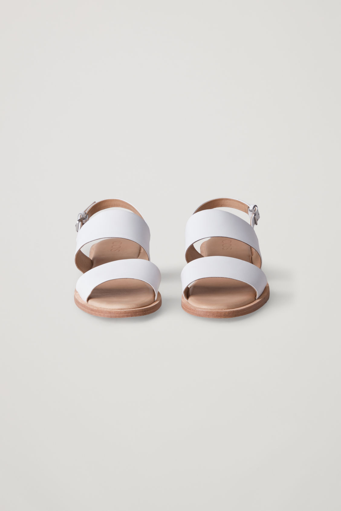Side image of Cos leather strap sandals  in white