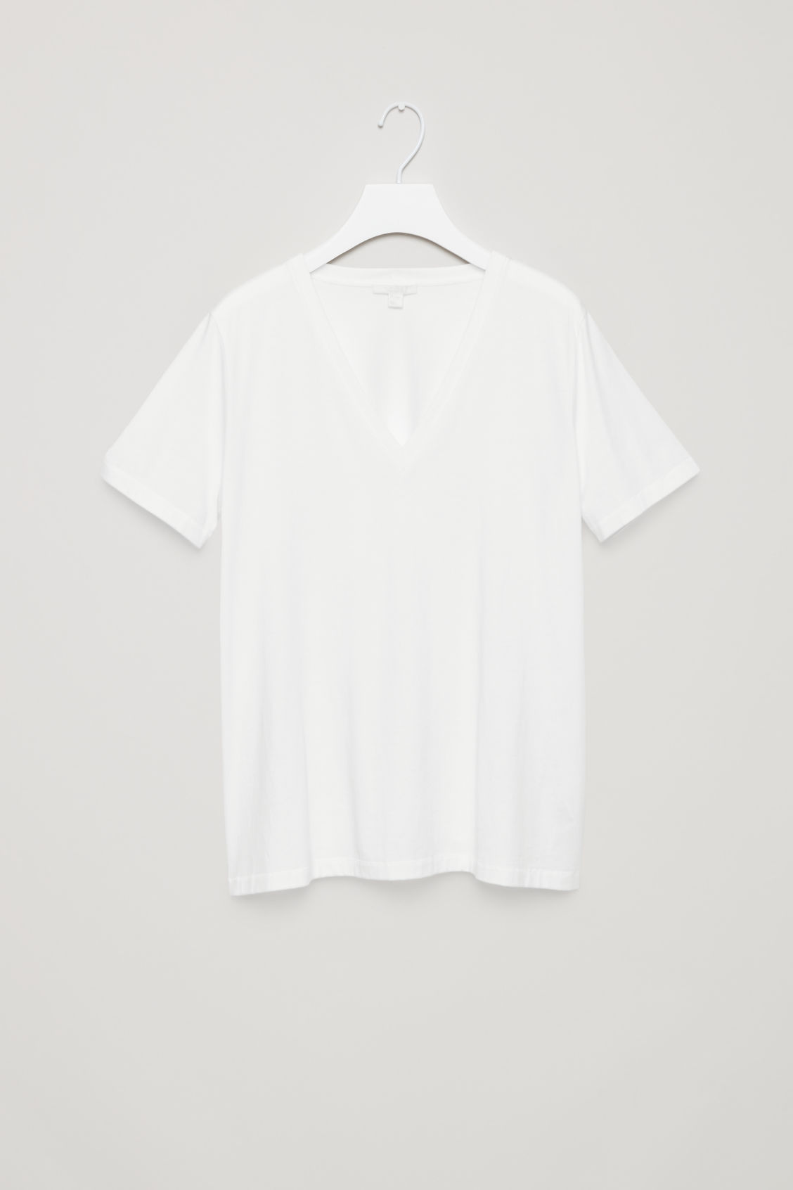 Front image of Cos v-neck cotton t-shirt in white