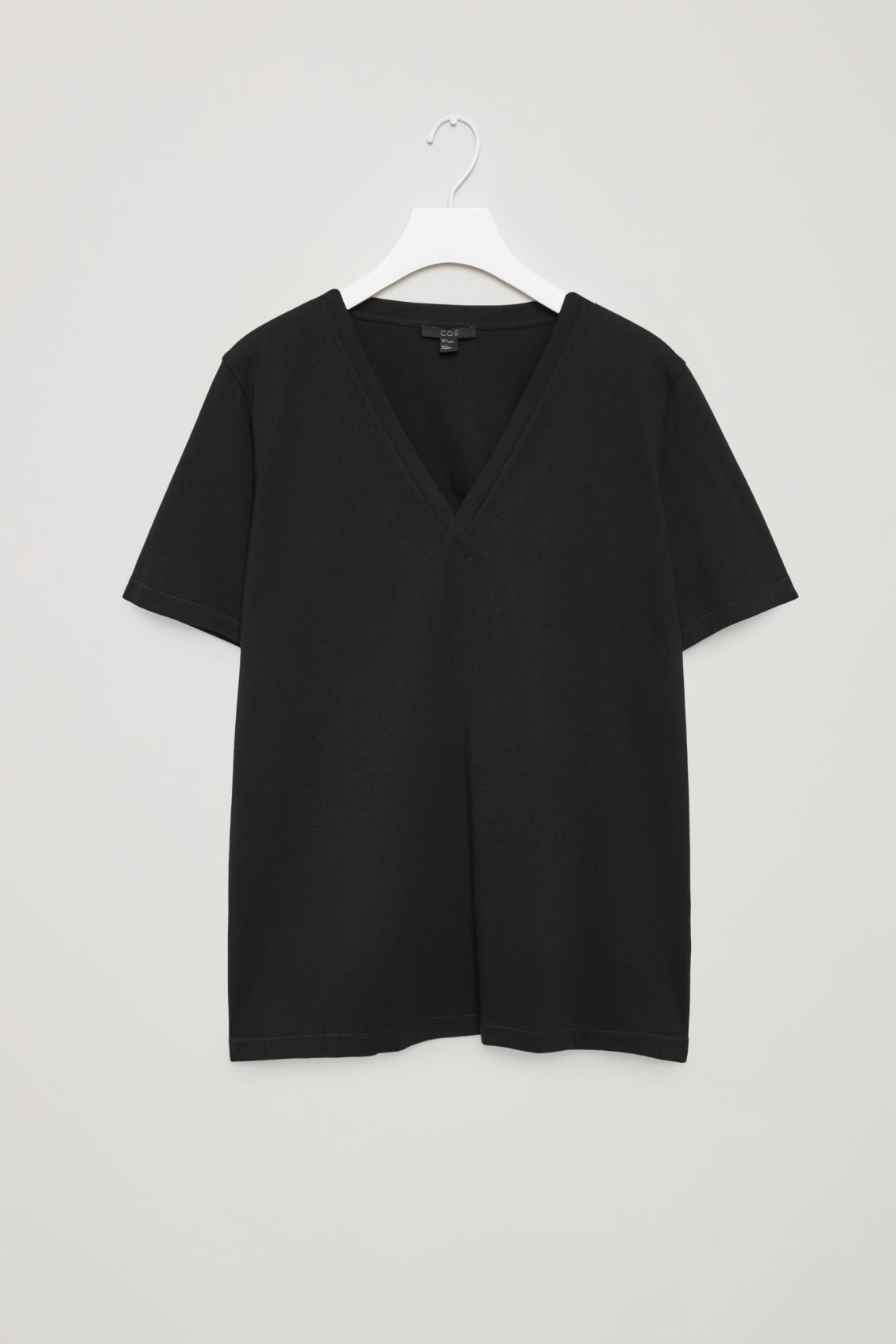 Front image of Cos v-neck cotton t-shirt in black